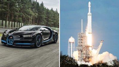 75ec2befda1 Falcon Heavy mais rápido do que Bugatti Chiron