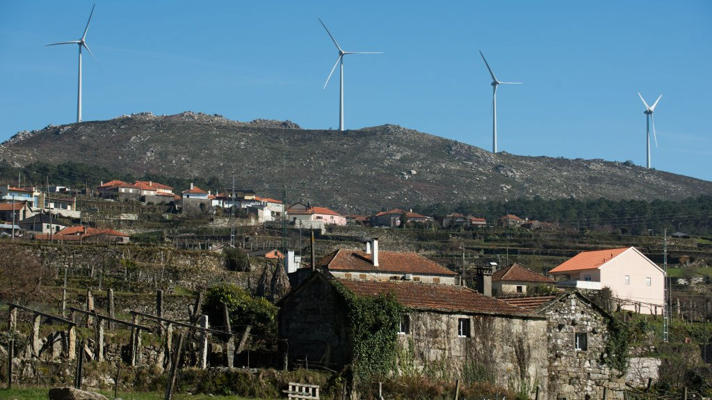 A general view of wind turbines on the sub park Mendoiro-