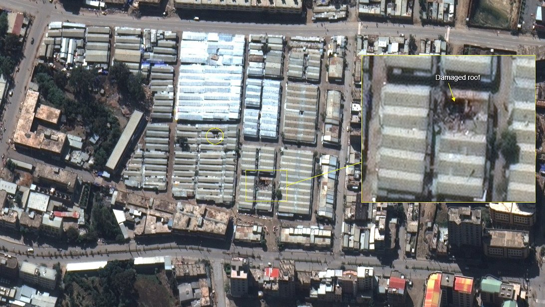 epa08853614 A handout satellite image dated 30 November 2020 and made available by MAXAR Technologies shows damage to buildings at Mekelle market area, Tigray, north Ethiopia. Ethiopia's government on 29 November 2020 said their forces they were in full control of Mekelle, northern Tigray region's capital, after defeating the Tigray People's Liberation Front.  EPA/MAXAR TECHNOLOGIES HANDOUT -- MANDATORY CREDIT: SATELLITE IMAGE 2020 MAXAR TECHNOLOGIES -- the watermark may not be removed/cropped -- HANDOUT EDITORIAL USE ONLY/NO SALES
