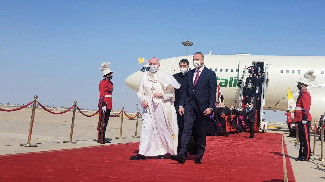 Pope Francis lands in Baghdad