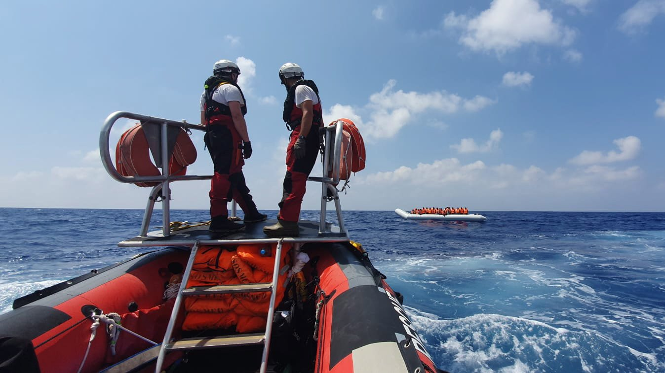 epa07780654 A handout photo dated 09 August 2019 and  made available by Doctors Without Borders (MSF) on 19 August 2019, showing rescue vessel Ocean Viking crew members approaching a boat with migrants off the coast of Libya in the Mediterranean. The vessel, that has been at sea since 10 days, rescued a total of 356 migrants in three rescue missions. Over 500 refugees on two NGO vessels are still waiting to be allowed at land while Italy and Malta have denied them access to their harbors.  EPA/HANNAH WALLACE BOWMAN HANDOUT  HANDOUT EDITORIAL USE ONLY/NO SALES