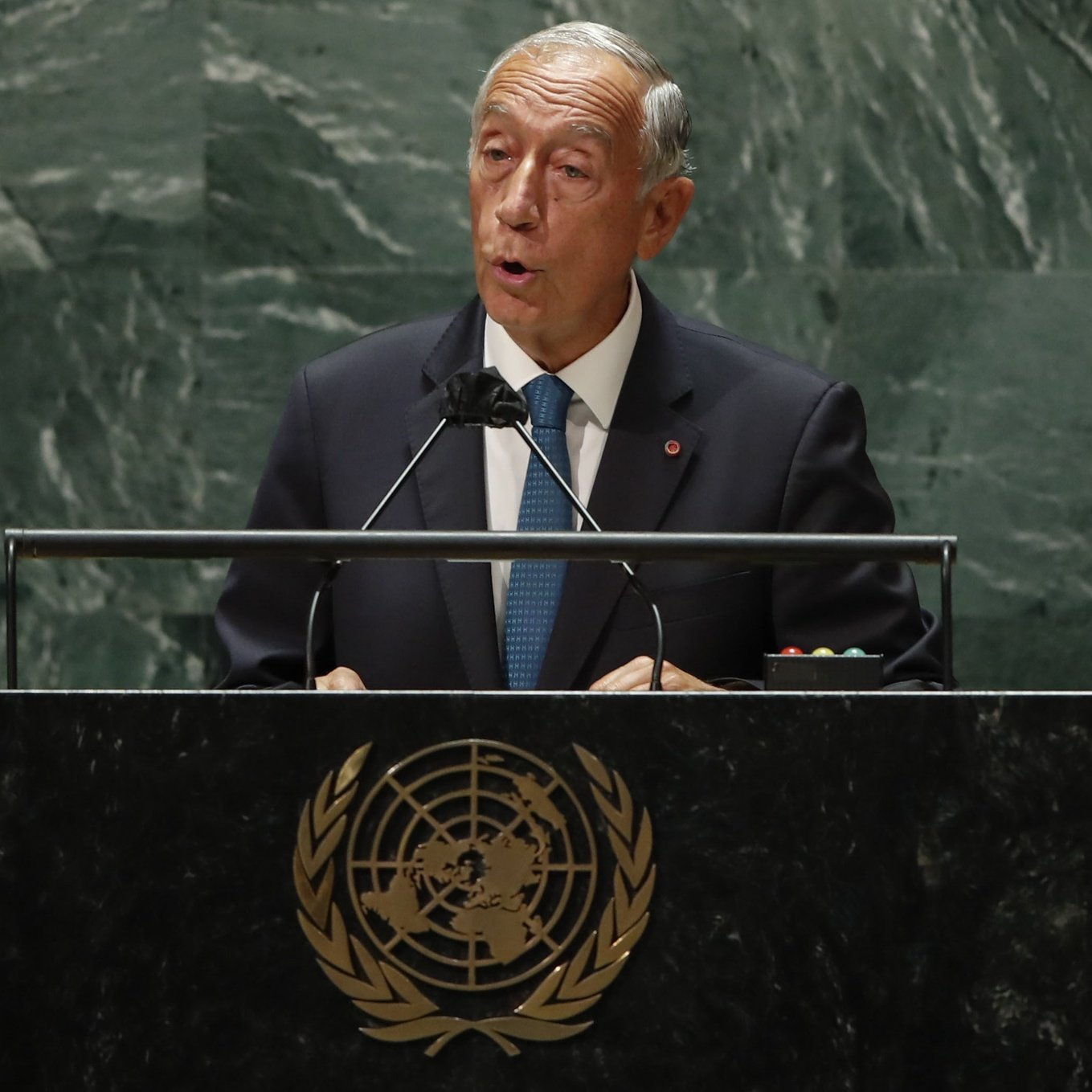 epa09479718 Portugal's President Marcelo Rebelo de Sousa addresses the 76th Session of the UN General Assembly in New York City, USA, 21 September 2021.  EPA/EDUARDO MUNOZ / POOL