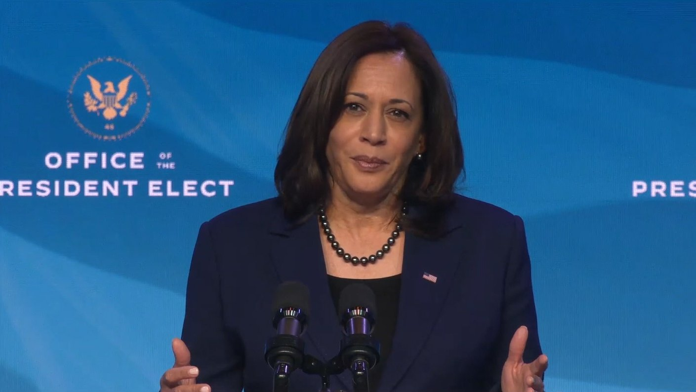 epa08927255 A frame grab from a handout video released by the Office of the President Elect shows US Vice President-Elect Kamala Harris speaking during a press conference in Wilmington, Delaware, USA, 08 January 2021. US President-Elect Joseph R. Biden announced his economics and jobs team.  EPA/OFFICE OF THE PRESIDENT ELECT / HANDOUT  HANDOUT EDITORIAL USE ONLY/NO SALES