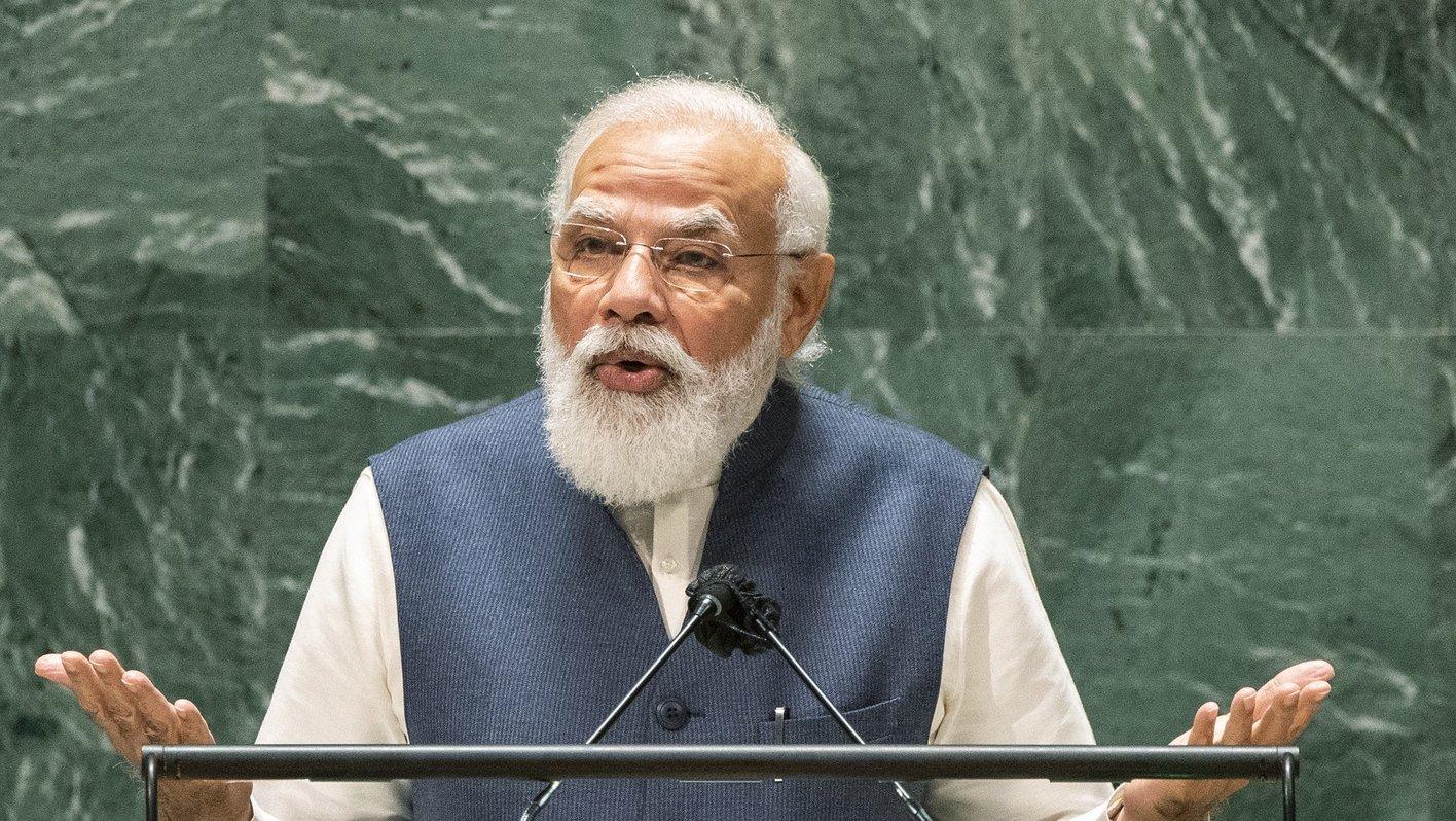 epa09487443 India's Prime Minister Narendra Modi addresses the 76th Session of the U.N. General Assembly in New York City, New York, USA, 25 September 2021.  EPA/EDUARDO MUNOZ / POOL