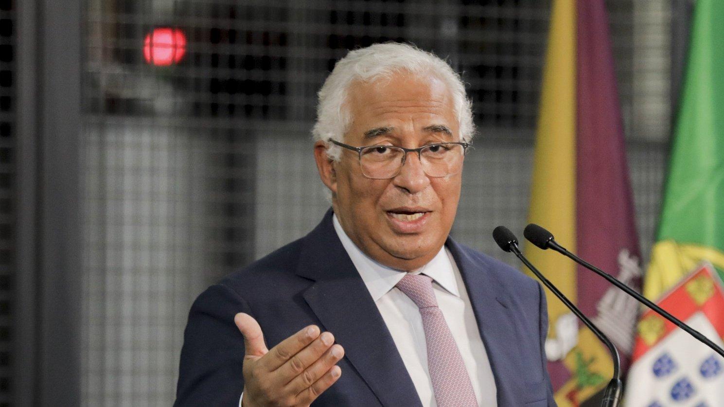 O primeiro-ministro, António Costa, discursa na cerimónia de inauguração do novo armazém automático da Sumol Compal, em Almeirim, 15 de outubro de 2021. PAULO CUNHA /LUSA