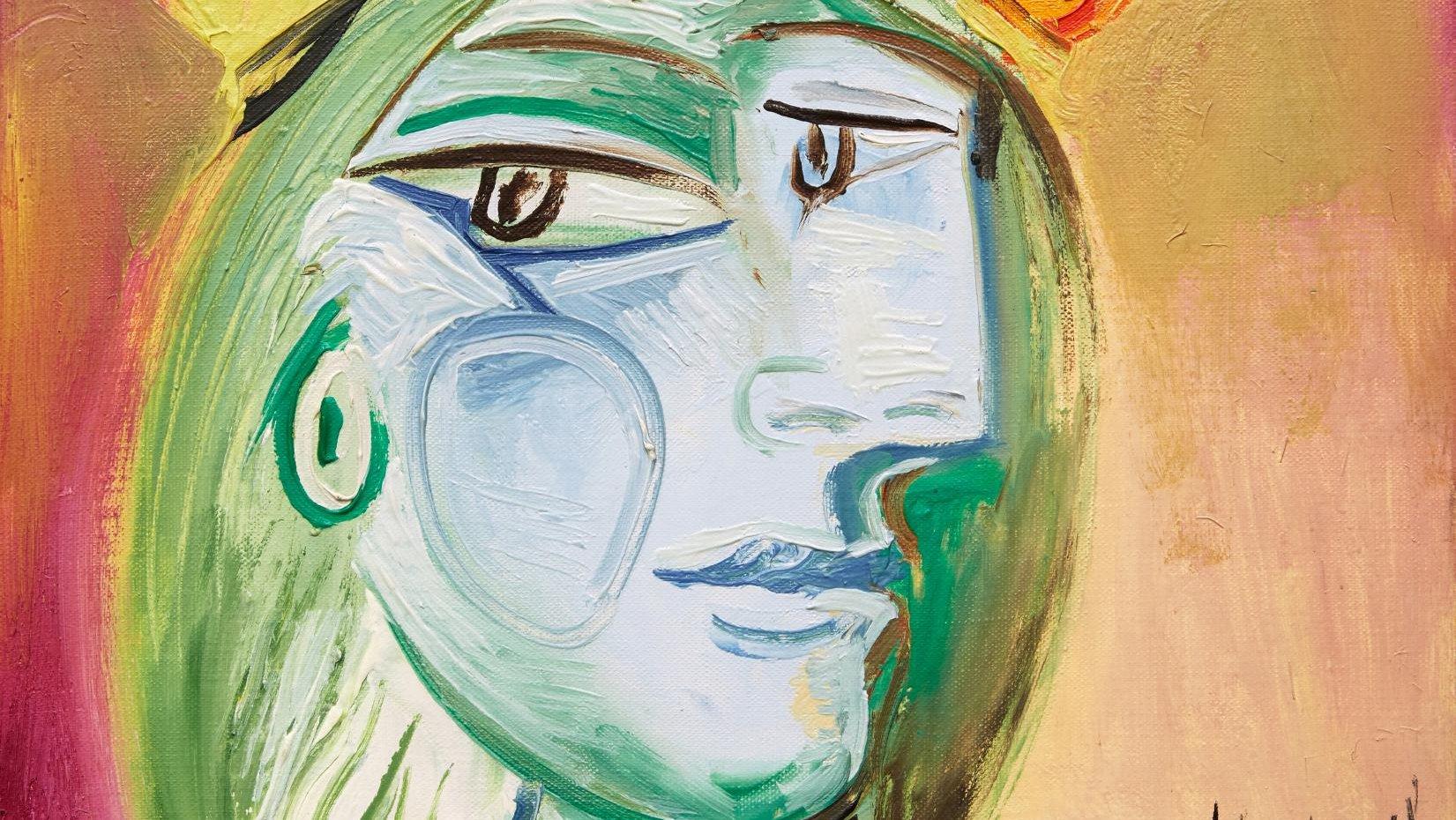 """Obra de Pablo Picasso """"Femme au béret rouge-orange"""". SOTHEBY'S, 2021"""