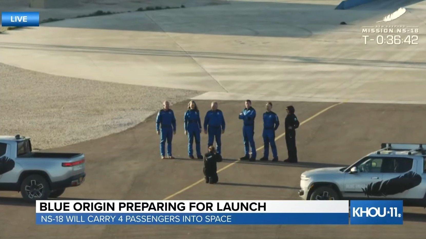 William Shatner take part in New Shepard spacecraft crew