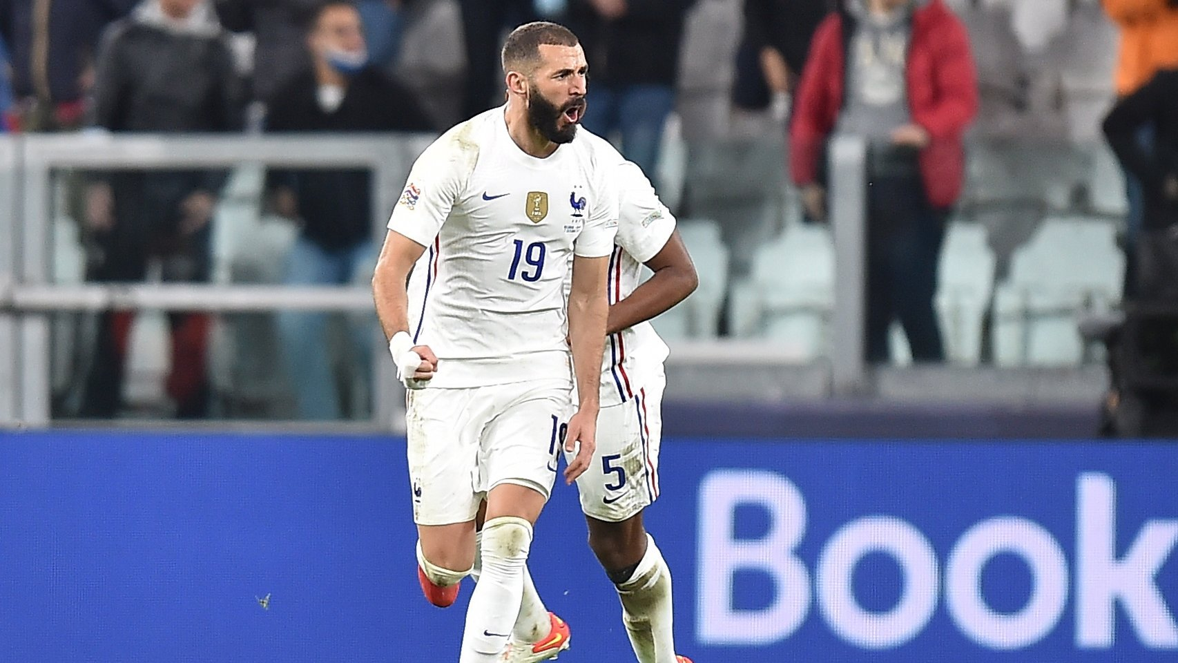 epa09512058 Karim Benzema of France celebrates after scoring during the UEFA Nations League semi final soccer match between Belgium and France in Turin, Italy, 07 October 2021.  EPA/Alessandro di Marco