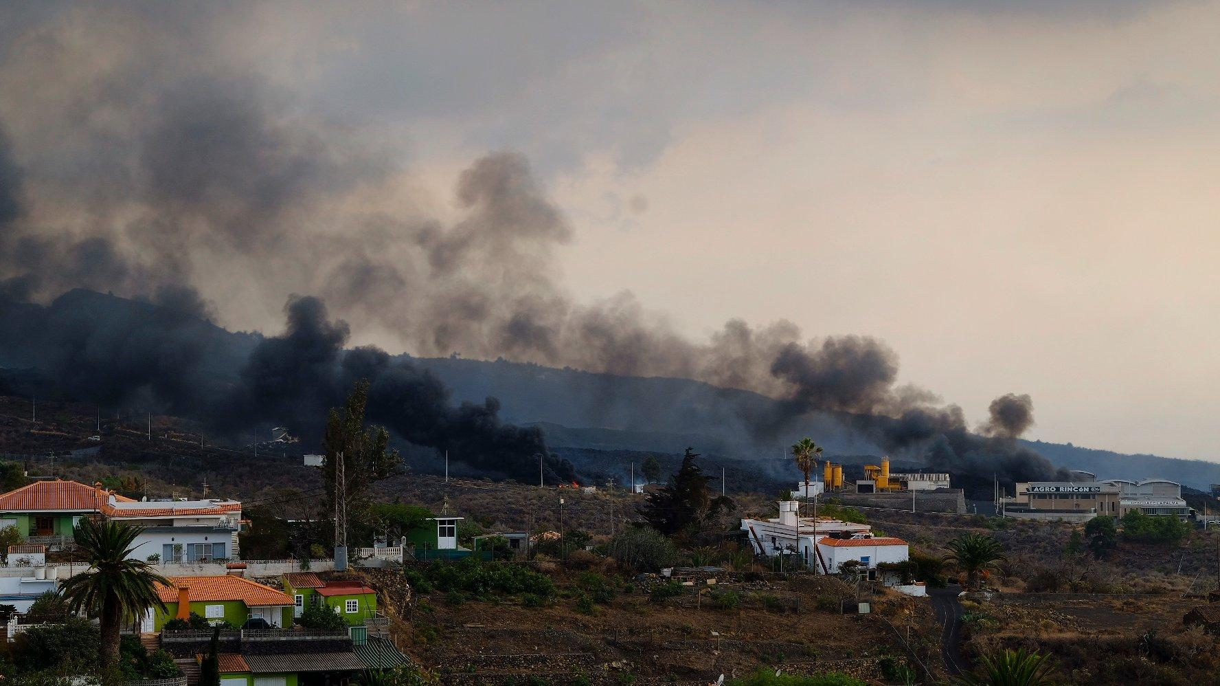 Lava From The La Palma Volcano Reaches A Cement Factory