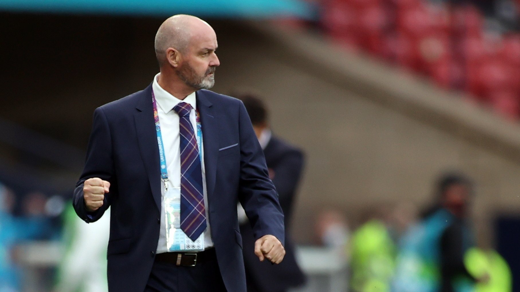 epa09294232 Scotland manager Steve Clarke reacts during the UEFA EURO 2020 group D preliminary round soccer match between Croatia and Scotland in Glasgow, Britain, 22 June 2021.  EPA/Lee Smith / POOL (RESTRICTIONS: For editorial news reporting purposes only. Images must appear as still images and must not emulate match action video footage. Photographs published in online publications shall have an interval of at least 20 seconds between the posting.)