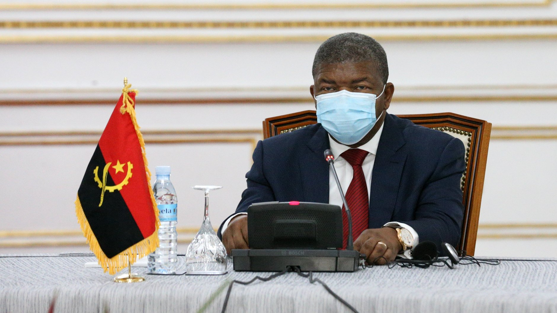 President of Angola Joao Lourenco and the President of the European Council Charles Michel (not seen) attend a press conference after a meeting at Presidential Palace in Luanda, Angola, 30 April 2021. AMPE ROGERIO/LUSA