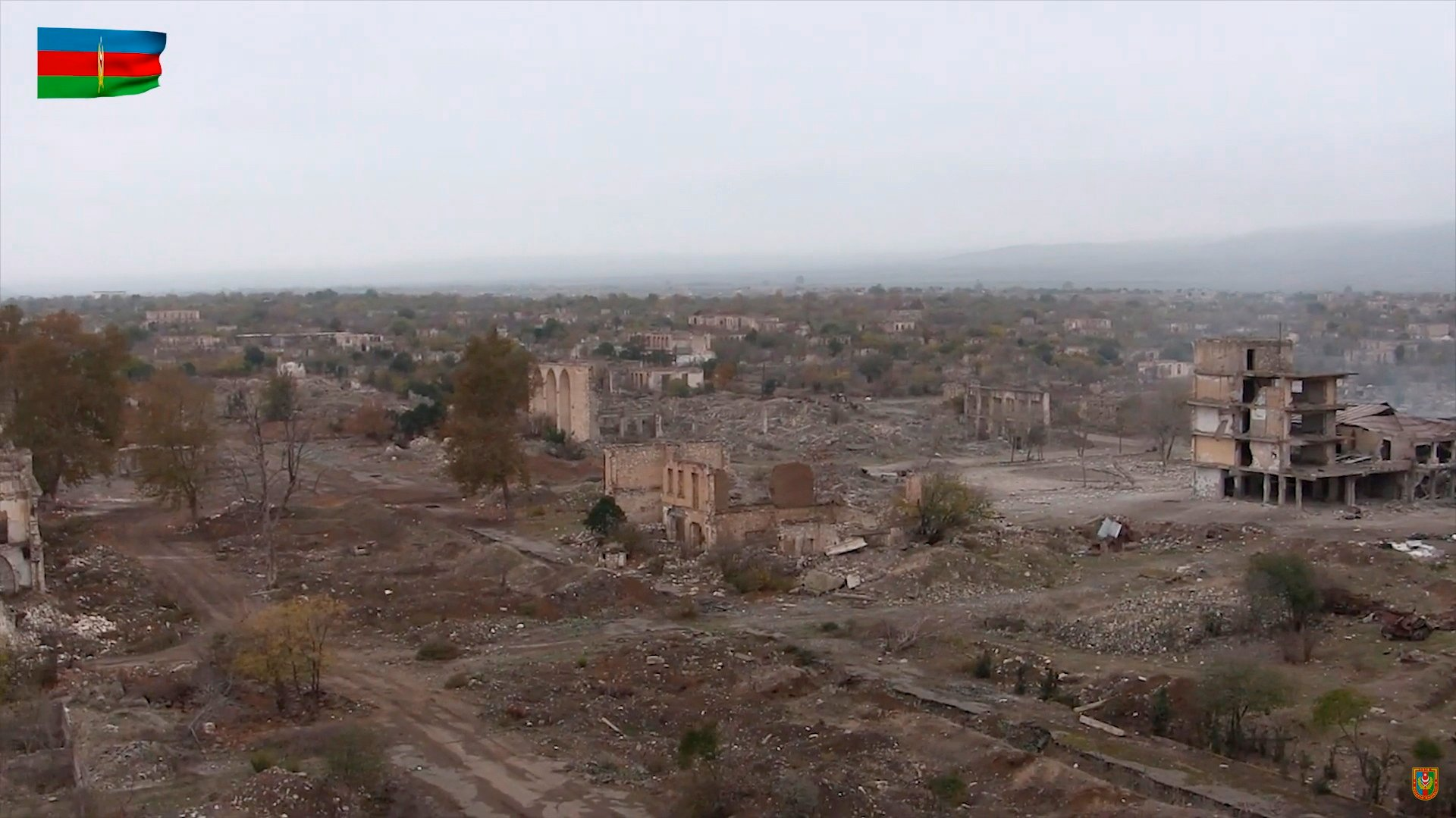 epa08831723 A handout still image taken from a video footage released 20 November 2020 by the press service of the Azerbaijan's Defence Ministry shows a general view of a ruined city of Aghdam in the Aghdam region, Azerbaijan, 20 November 2020. In accordance with the trilateral statement signed by the Azerbaijan's and Russian Presidents and  Armenian Prime Minister, the Azerbaijani army units entered the Aghdam region on 20 November 2020 and took it under the Azerbaijani control.  EPA/AZERBAIJAN DEFENCE MINISTRY / HANDOUT MANDATORY CREDIT/BEST QUALITY AVAILABLE/ HANDOUT EDITORIAL USE ONLY/NO SALES