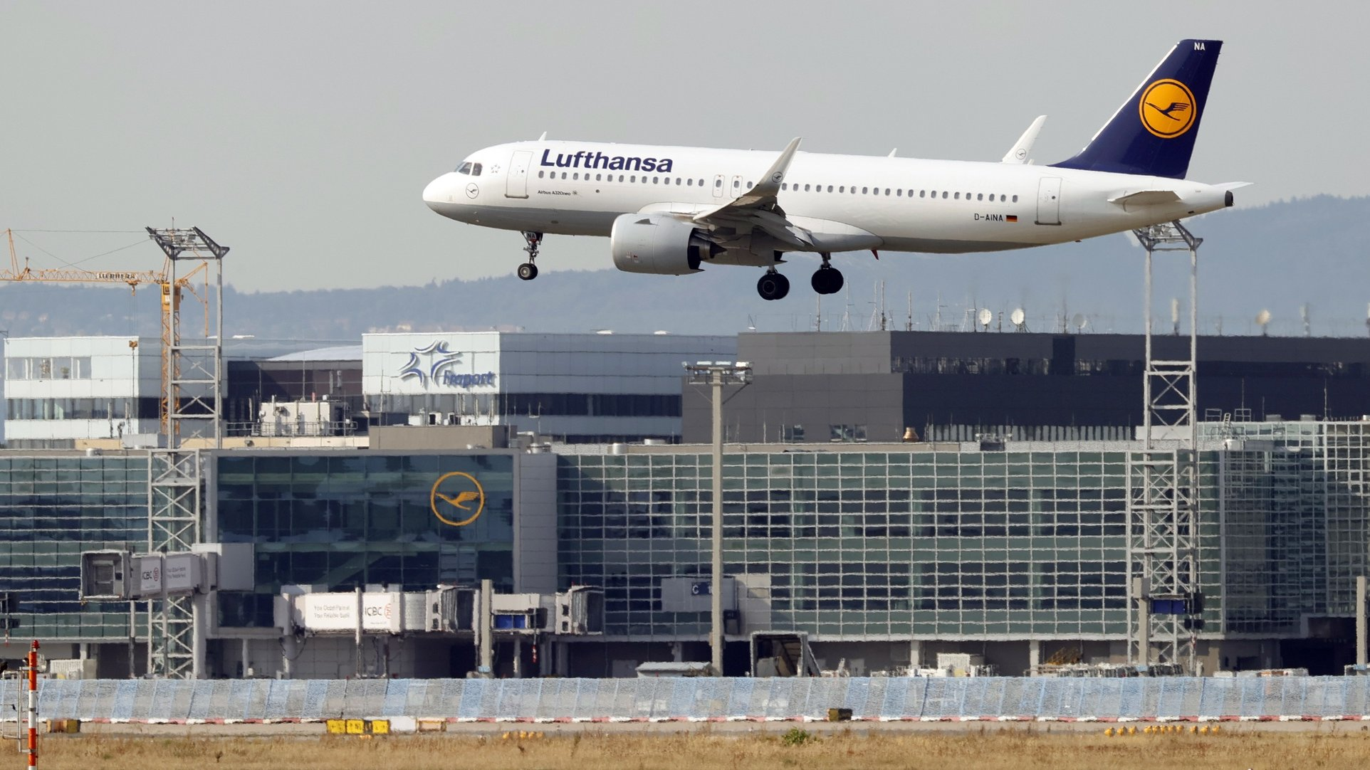 epa08673217 An aircraft of German flag carrier Lufthansa lands at the international airport in Frankfurt am Main, Germany, 16 September 2020. Airports and airlines around the world took increased measures to stem the widespread of the SARS-CoV-2 coronavirus which causes the Covid-19 disease.  EPA/RONALD WITTEK
