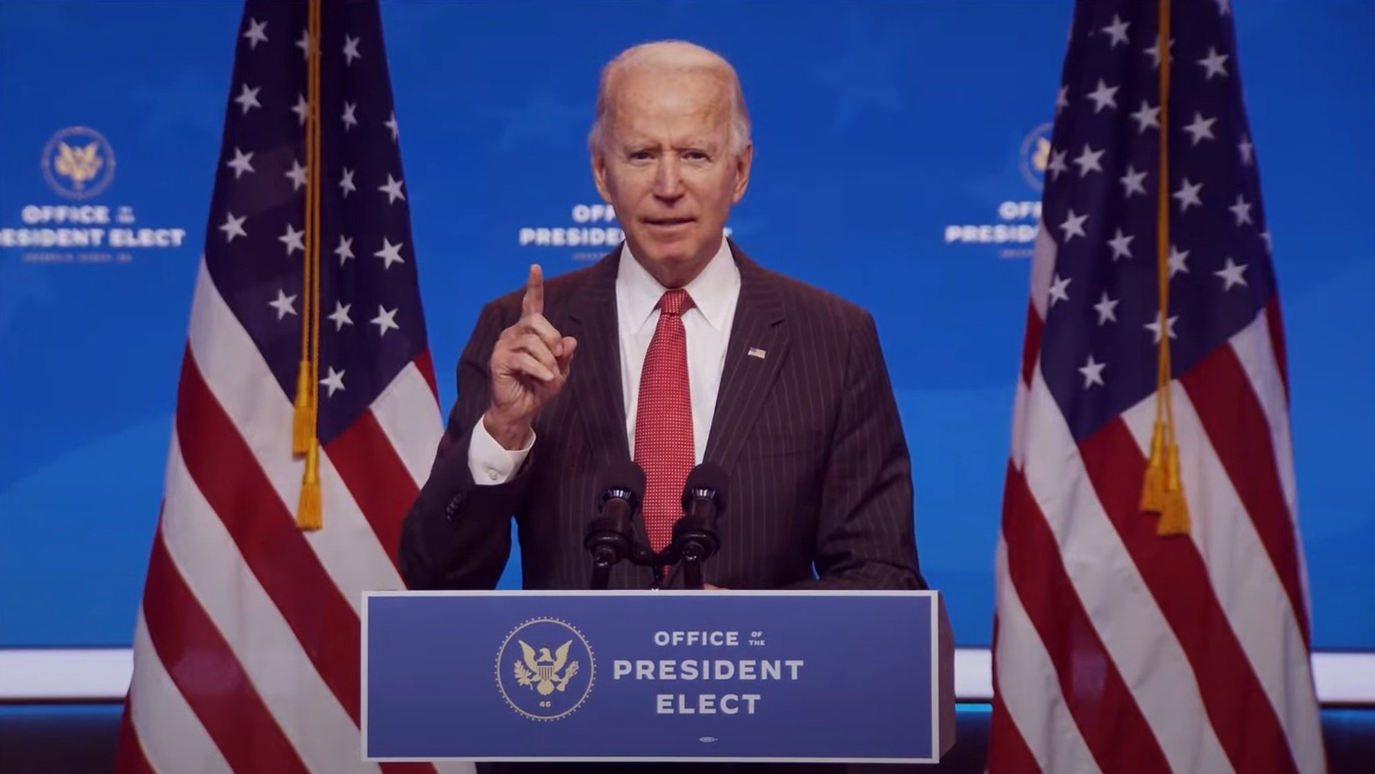 epa08830998 A frame grab from a handout video released by the Office of the President Elect shows US President-Elect Joseph R. Biden addressing the media during a press conference in Wilmington, Delaware, USA, 19 November 2020 (issued 20 November 2020). Georgia state authorities confirmed 19 November US President-elect Joe Biden won the the election in Georgia following a recount. It was the first time the Democrats won a presidential election race in Georgia since 1992 when Bill Clinton was elected.  EPA/OFFICE OF THE PRESIDENT ELECT/HANDOUT BEST QUALITY AVAILABLE HANDOUT EDITORIAL USE ONLY/NO SALES