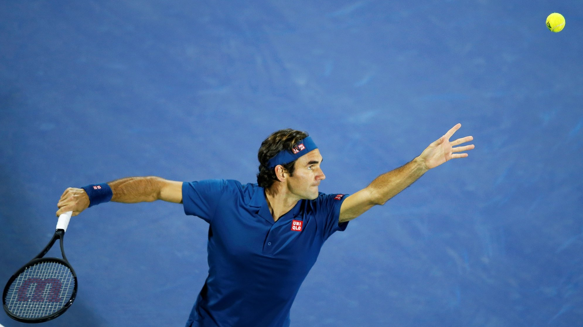 epa08429186 Roger Federer of Switzerland in action during a match at the Dubai Duty Free Tennis ATP Championships 2019 in Dubai, United Arab Emirates, 02 March 2019 (re-issued 18 May 2020). As prominent in both sky and sea, the color blue is often associated with open spaces, freedom, depth and wisdom. In psychology blue is viewed as a non-threatening color and it is believed to have positive and calming effects on body and mind. Often linked with intellect, confidence and reliability, it is known in corporate America as a power color.  EPA/ALI HAIDER ATTENTION: This Image is part of a PHOTO SET *** Local Caption *** 55024934