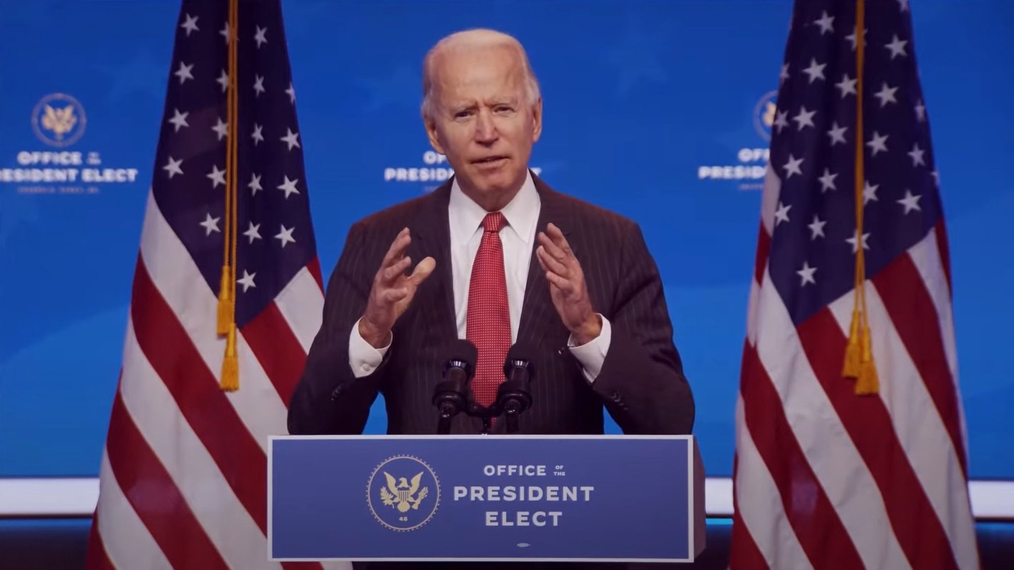 epa08830999 A frame grab from a handout video released by the Office of the President Elect shows US President-Elect Joseph R. Biden addressing the media during a press conference in Wilmington, Delaware, USA, 19 November 2020 (issued 20 November 2020). Georgia state authorities confirmed 19 November US President-elect Joe Biden won the the election in Georgia following a recount. It was the first time the Democrats won a presidential election race in Georgia since 1992 when Bill Clinton was elected.  EPA/OFFICE OF THE PRESIDENT ELECT/HANDOUT BEST QUALITY AVAILABLE HANDOUT EDITORIAL USE ONLY/NO SALES