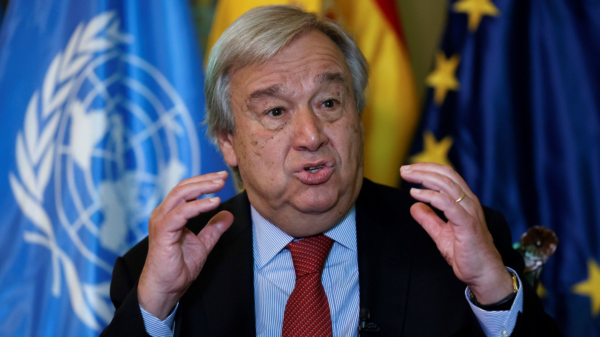 epa09319785 UN Secretary General Antonio Guterres during an interview with Agencia Efe in Madrid, Spain, 02 July 2021 (issued on 03 July 2021). Guterres considers that 'Time to take decisions to fight against climate change is running out'.  EPA/Chema Moya