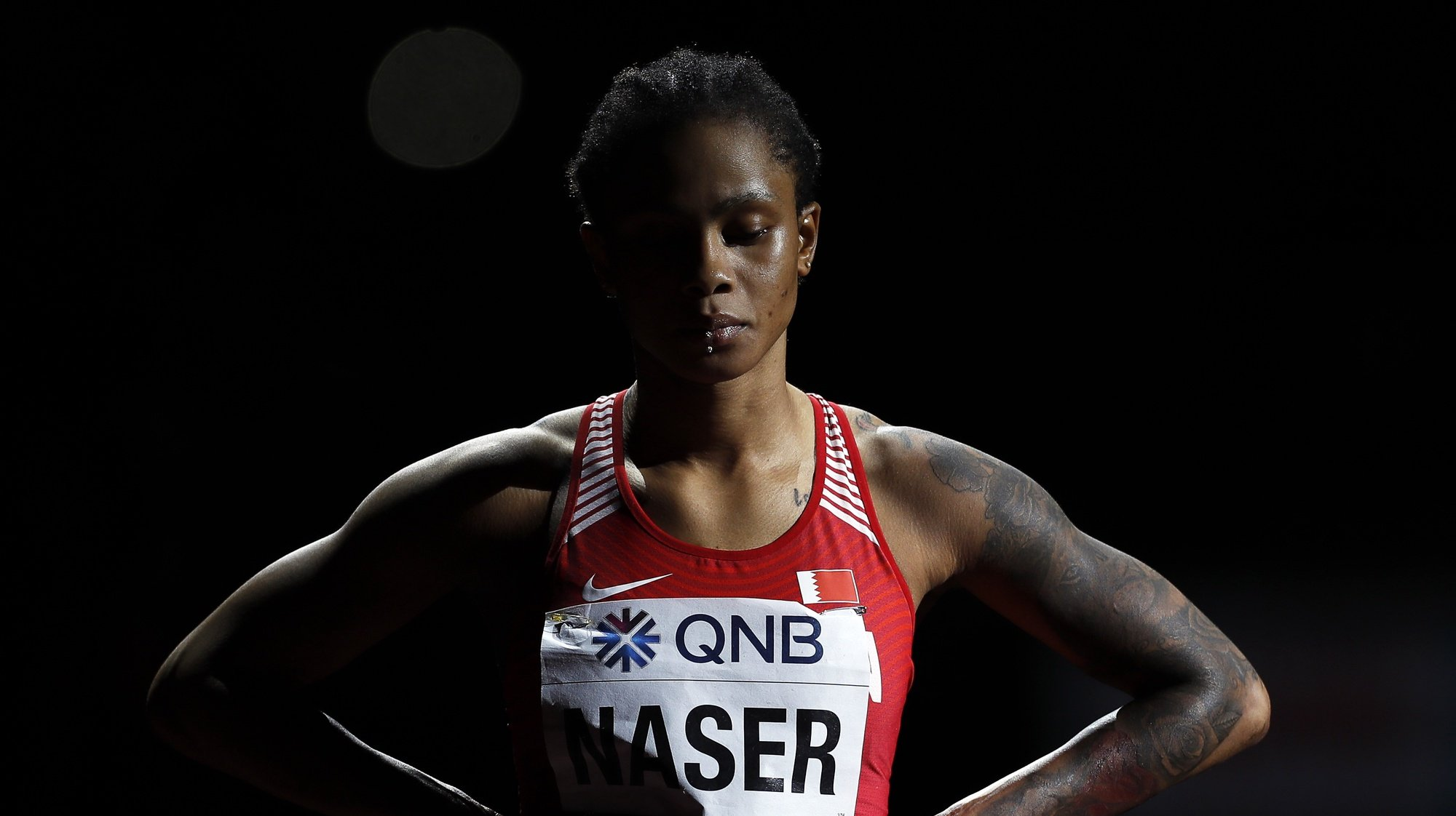 epa08467039 (FILE) - Salwa Eid Naser of Bahrain prepares for the women's 400m final during the IAAF World Athletics Championships 2019 at the Khalifa Stadium in Doha, Qatar, 03 October 2019 (re-issued on 05 June 2020). Salwa Eid Naser has been provisionally banned for failing to make herself available for anti-doping tests, the Athletics Integrity Unit (AIU) confirmed on 05 June 2020. The 400m world champion could face a ban of up to two years for the whereabouts violation.  EPA/VALDRIN XHEMAJ *** Local Caption *** 55520356