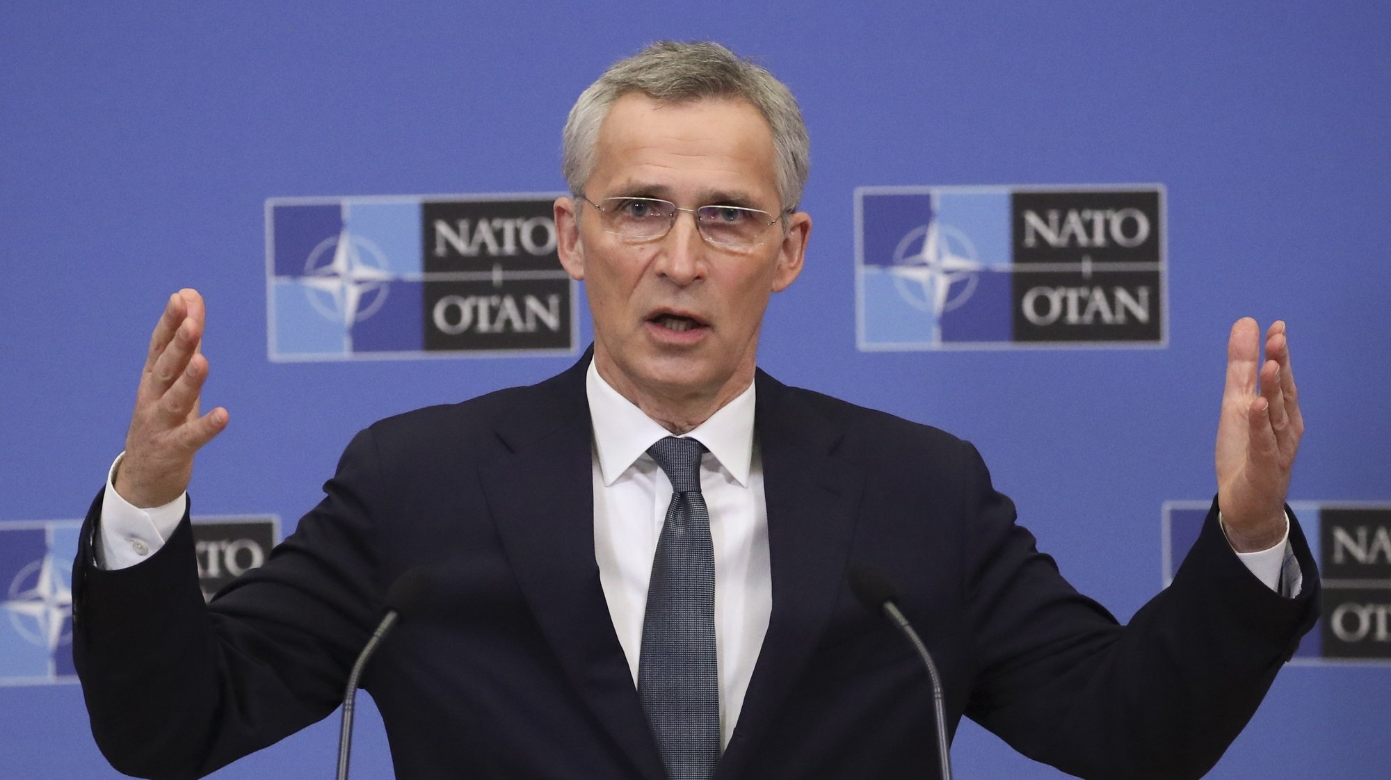 epa09077636 NATO Secretary General Jens Stoltenberg presents the Alliance's 2020 annual report during a news conference in Brussels, Belgium, 16 March 2021.  EPA/YVES HERMAN / POOL