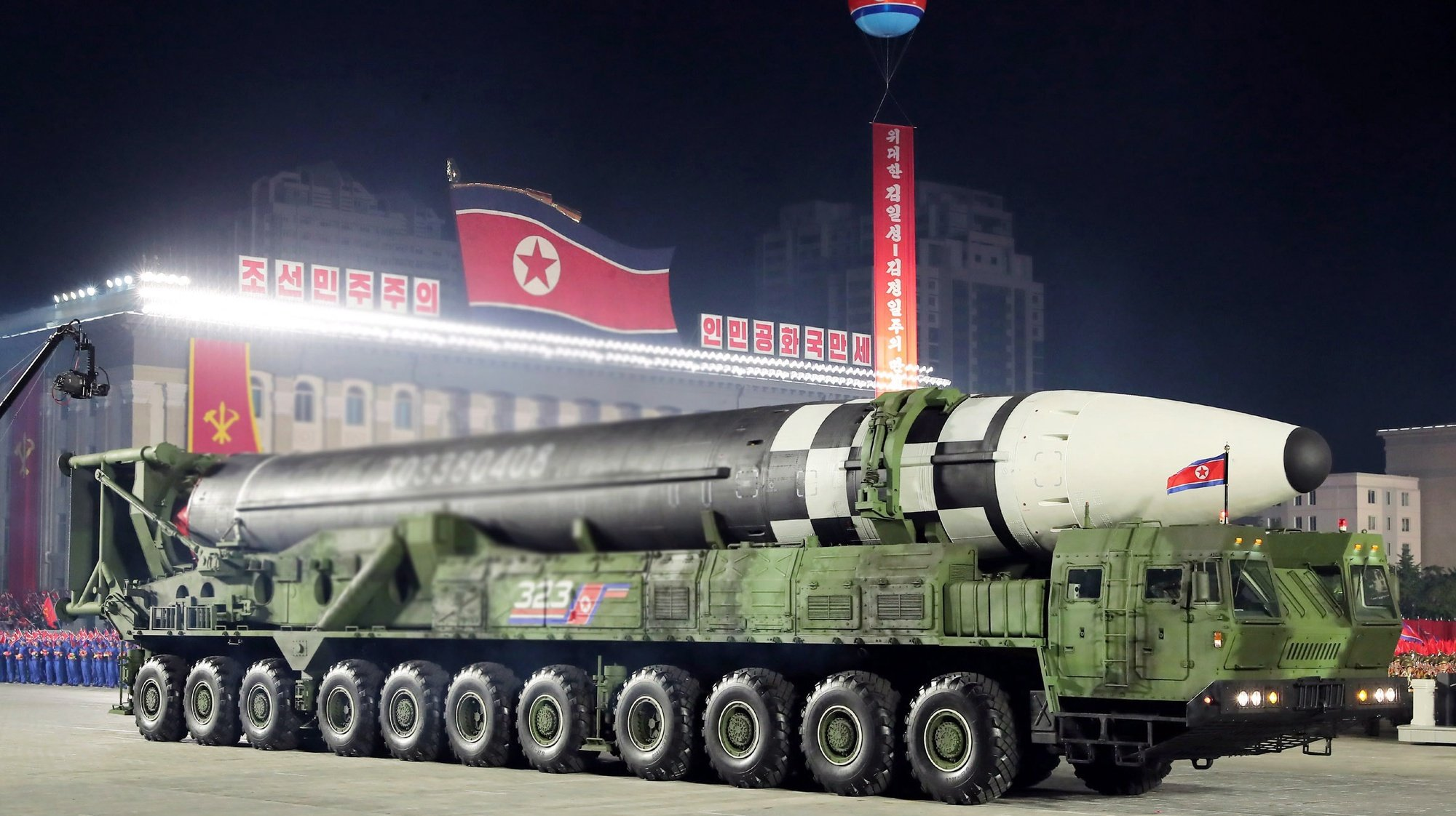 epa08737328 A photo released by the official North Korean Central News Agency (KCNA) shows North Korea's new intercontinental ballistic missile (ICBM) during a military parade at the Kim Il Sung Square during celebrations of the 75th anniversary of the founding of the Workers' Party of Korea (WPK), in Pyongyang, North Korea, 10 October 2020 (issued 12 October 2020).  EPA/KCNA   EDITORIAL USE ONLY