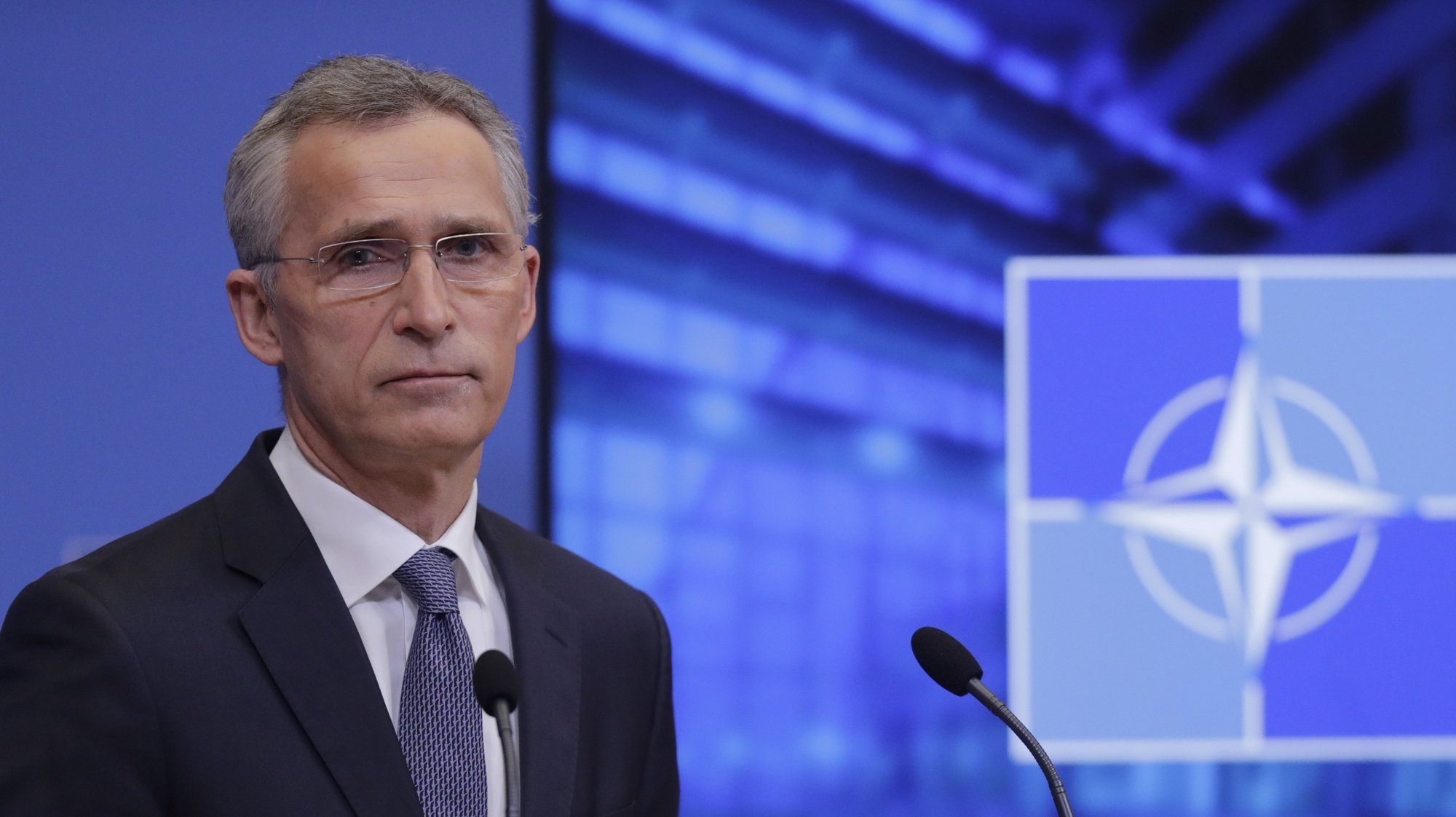 epa09093191 NATO Secretary General Jens Stoltenberg  gives a press briefing at the end of a NATO Foreign Ministers' meeting at the Alliance's headquarters in Brussels, Belgium, 24 March 2021. The foreign ministers met in person for the first time in more than a year as they preparing for an upcoming summit by discussing a set of proposals to reform the military alliance.  EPA/OLIVIER HOSLET / POOL