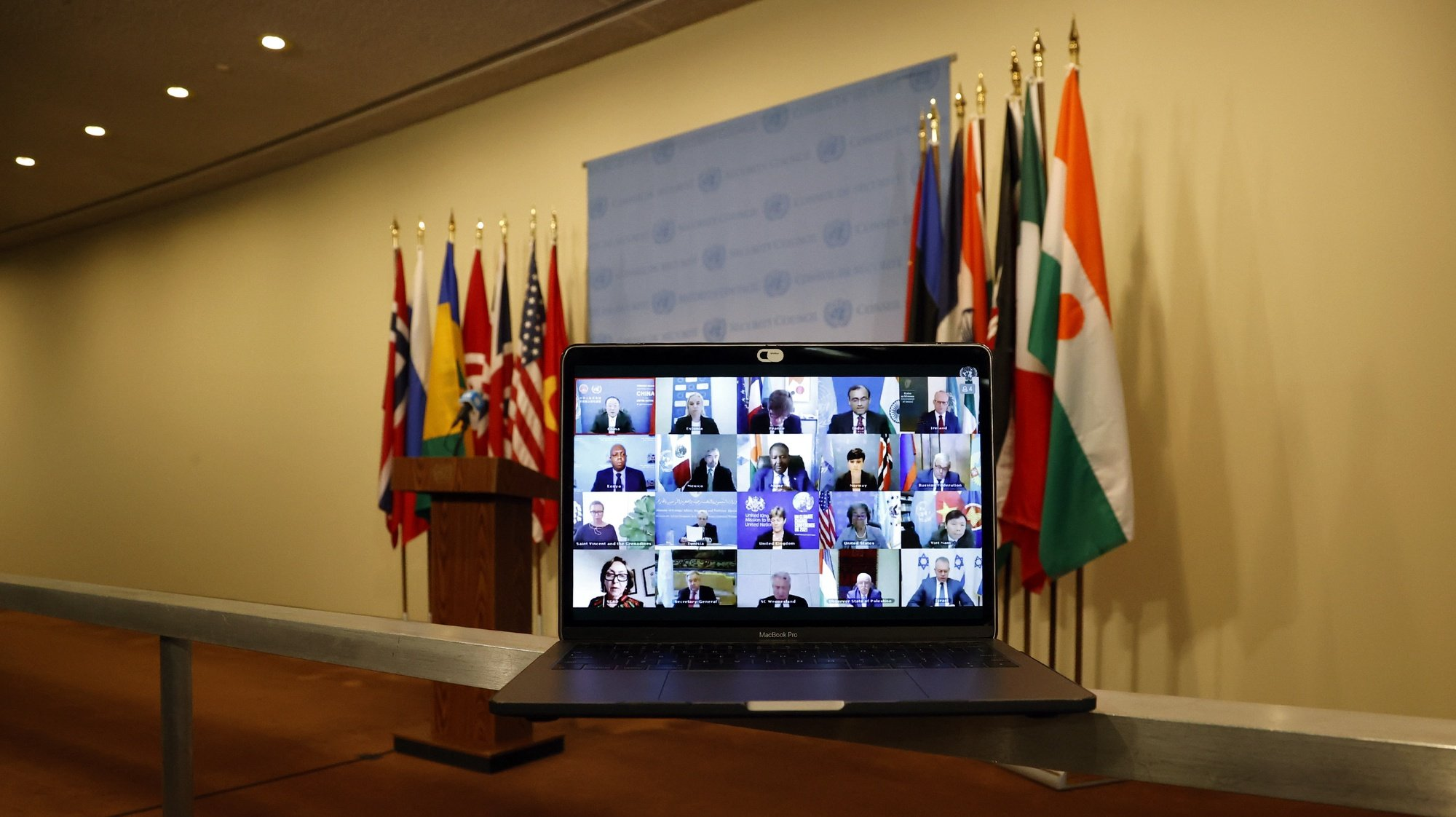 epa09204722 A computer screen is seen while members of the United Nations Security Council meet virtually on the situation in the Middle East, including the Palestinian question outside the Security Council stakeout area at United Nations Headquarters in New York, New York, USA, 16 May 2021.  EPA/JASON SZENES
