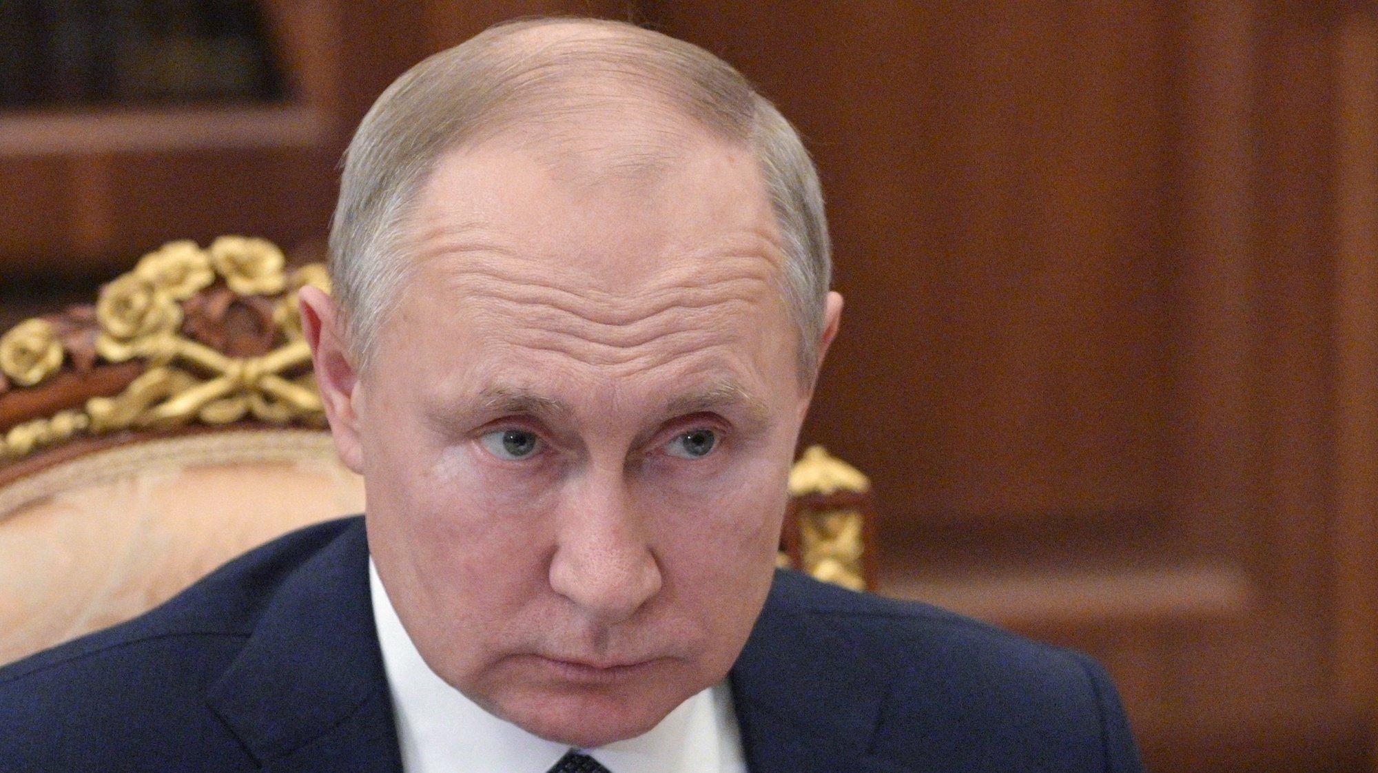 epa09206712 Russian President Vladimir Putin attends a working meeting  at the Kremlin in Moscow, Russia, 17 May 2021.  EPA/ALEXEI DRUZHININ / SPUTNIK / KREMLIN POOL MANDATORY CREDIT