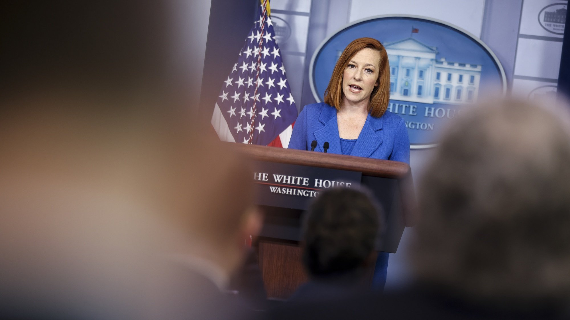 epa09225492 White House Press Secretary Jen Psaki talks to reporters during the daily press briefing in the Brady Press Briefing Room of the White House in Washington, DC, USA, 24 May 2021.  EPA/Oliver Contreras / POOL