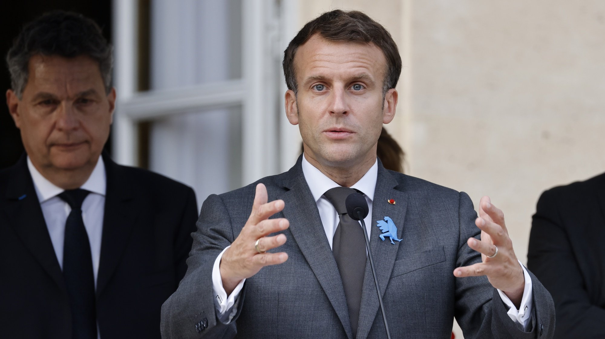 epa09318624 French President Emmanuel Macron delivers a speech during the inauguration ceremony of the 'Made in France' exhibition organised at the Elysee Presidential Palace in Paris, France, 02 July 2021. 126 objects are displayed until July 4, 2021, to highlight the 'made in France' industry.  EPA/LUDOVIC MARIN / POOL  MAXPPP OUT