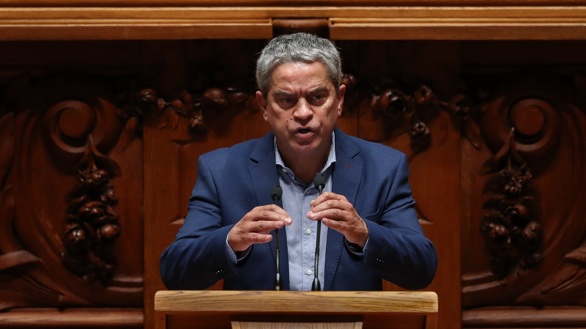 O deputado do partido Os Verdes, José Luis Ferreira, intervém sobre Lei Orgânica das Bases da Organização das Forças Armadas durante o debate parlamentar na Assembleia da República, em Lisboa, 18 de maio de 2021. MÁRIO CRUZ/LUSA