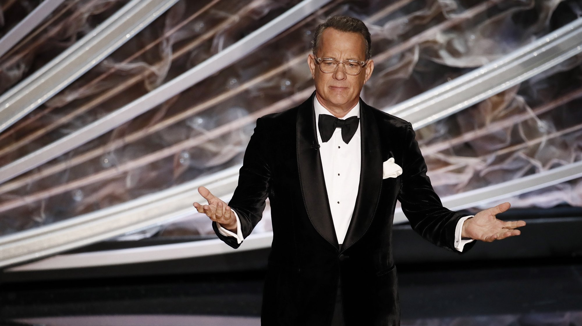 epa08207736 Tom Hanks during the 92nd annual Academy Awards ceremony at the Dolby Theatre in Hollywood, California, USA, 09 February 2020. The Oscars are presented for outstanding individual or collective efforts in filmmaking in 24 categories.  EPA/ETIENNE LAURENT
