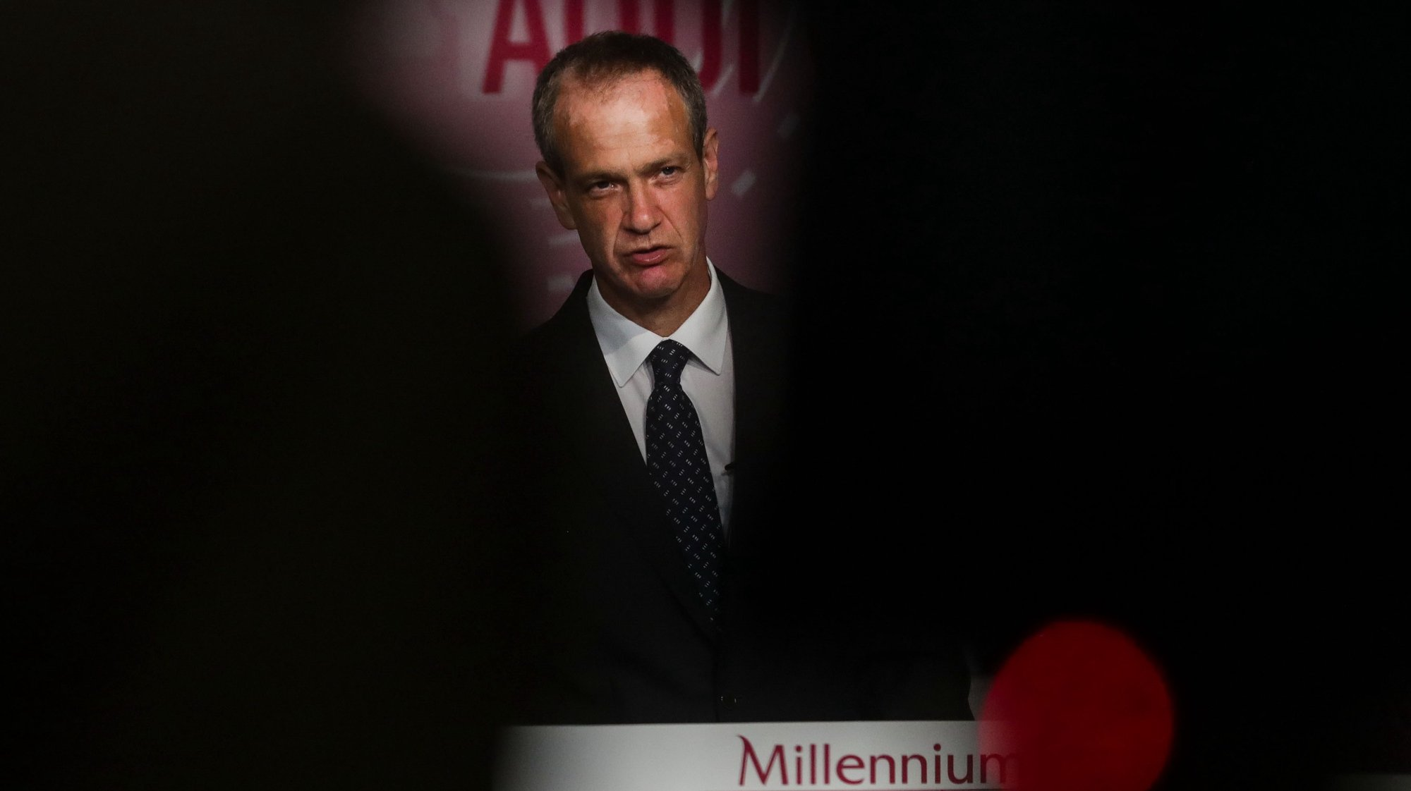O CEO do banco Millennium BCP, Miguel Maya, durante a conferência de imprensa de divulgação dos resultados do 1.º trimestre de 2021 da instituíção bancária, na sede do Tagus Park em Oeiras,  17 de maio de 2021. TIAGO PETINGA/LUSA