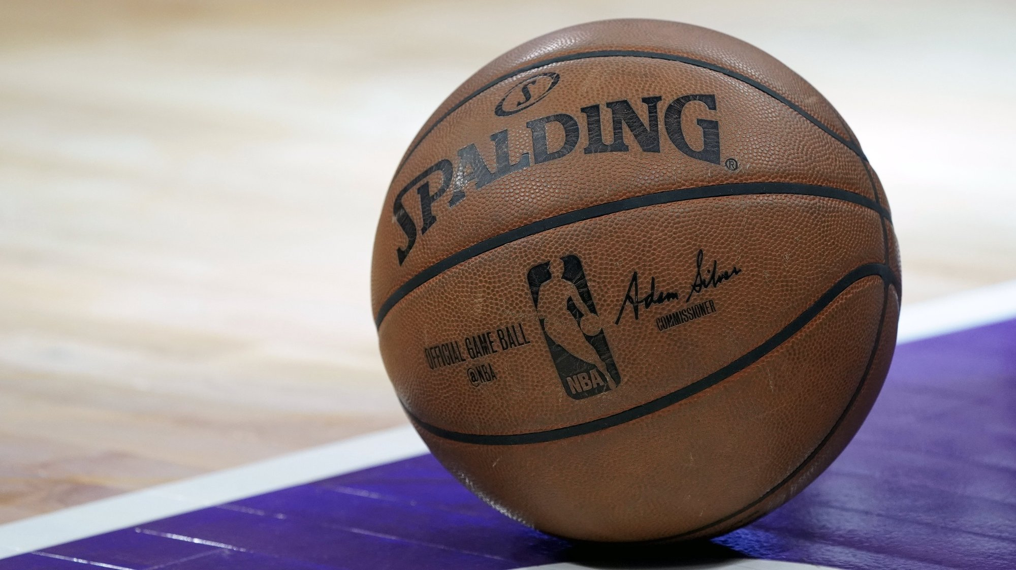 epa06629728 The game ball is on the floor during a time-out in the NBA basketball game between the Boston Celtics and the Sacramento Kings at Golden 1 Center in Sacramento, California, USA, 25 March 2018.  EPA/JOHN G. MABANGLO  SHUTTERSTOCK OUT