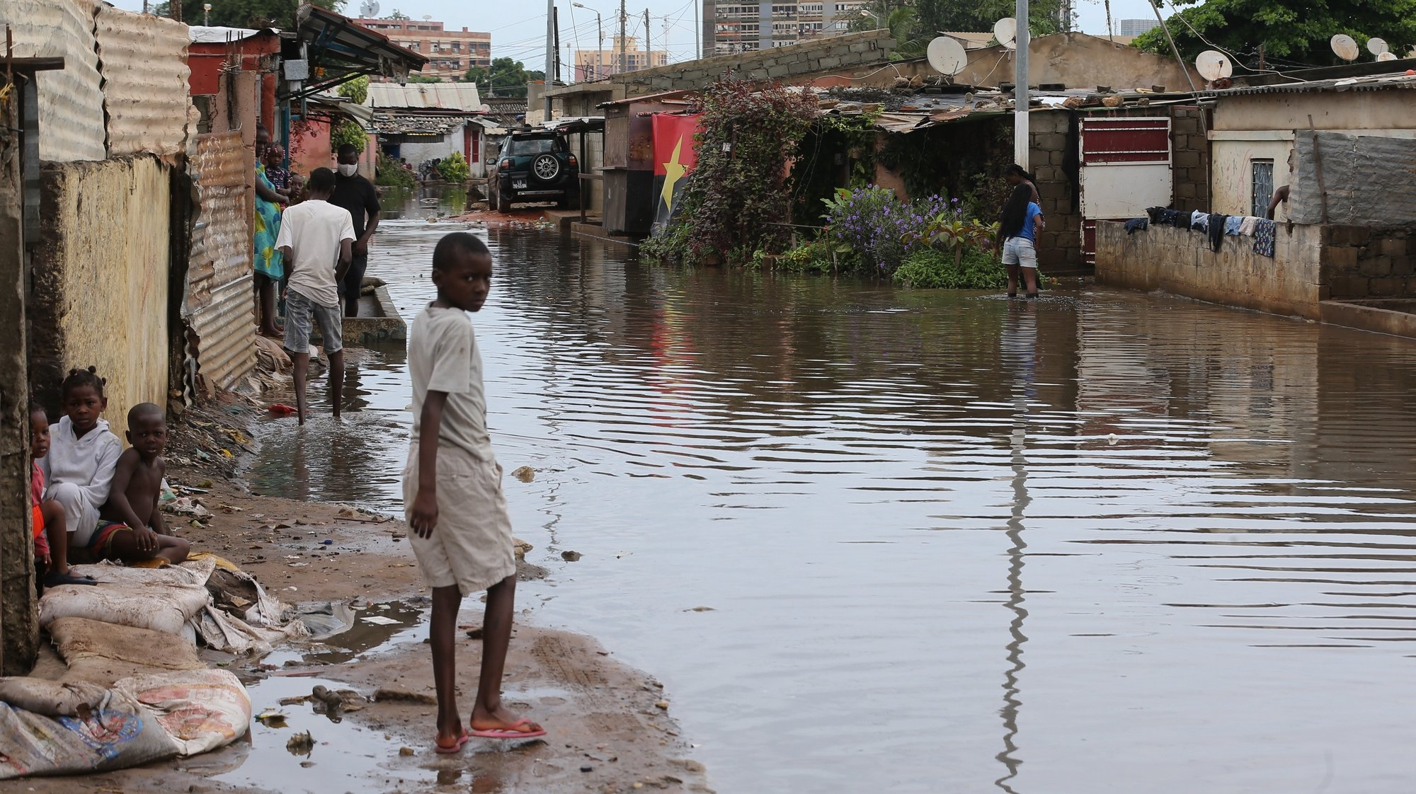 Flooded street in a Luanda neighborhood following the heavy rains that fell yesterday that caused the death to 14 people and flooded more than 16 000 houses, Luanda, Angola, 20th April 2021.  AMPE ROGERIO/LUSA