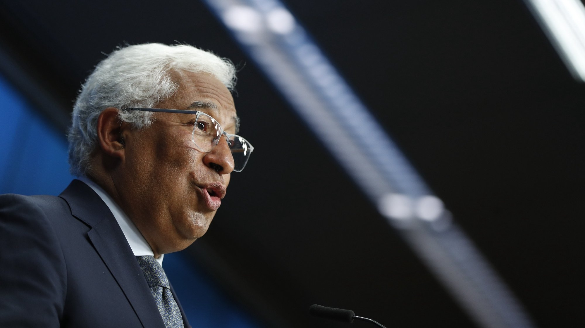 epa09300916 Portugal's Prime Minister Antonio Costa speaks at a news conference after European Union leaders meeting in Brussels, Belgium, 25 June 2021.  EPA/JOHANNA GERON / POOL