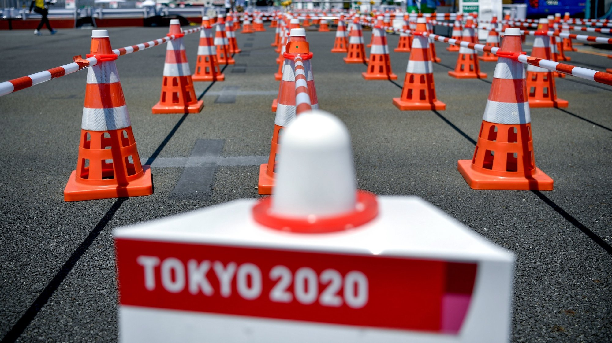 epa09356044 A view of the Olympic bus station in Tokyo, Japan, 21 July 2021. The pandemic-delayed 2020 Summer Olympics are schedule to open on July 23 with spectators banned from most Olympic events due to COVID-19 surge.  EPA/Zsolt Czegledi HUNGARY OUT