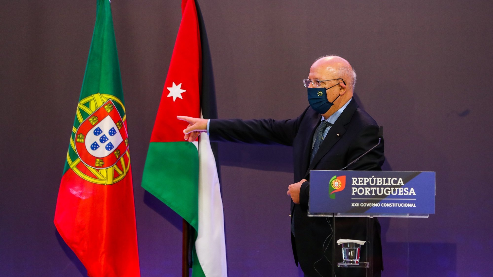 Portuguese Foreign Affairs Minister, Augusto Santos Silva, holds a press conference with his Jordan counterpart, Ayman Hussein Abdullah Al-Safadi, following the Informal meeting of Foreign Affairs Ministers - Gymnich included in the official program of the Portuguese Presidency of the Council of the European Union in Lisbon, Portugal, 27 May 2021. The main items on the agenda will be EU-Africa relations, the unresolved conflicts in the Eastern Neighbourhood and the Indo-Pacific region. JOSE SENA GOULAO/LUSA