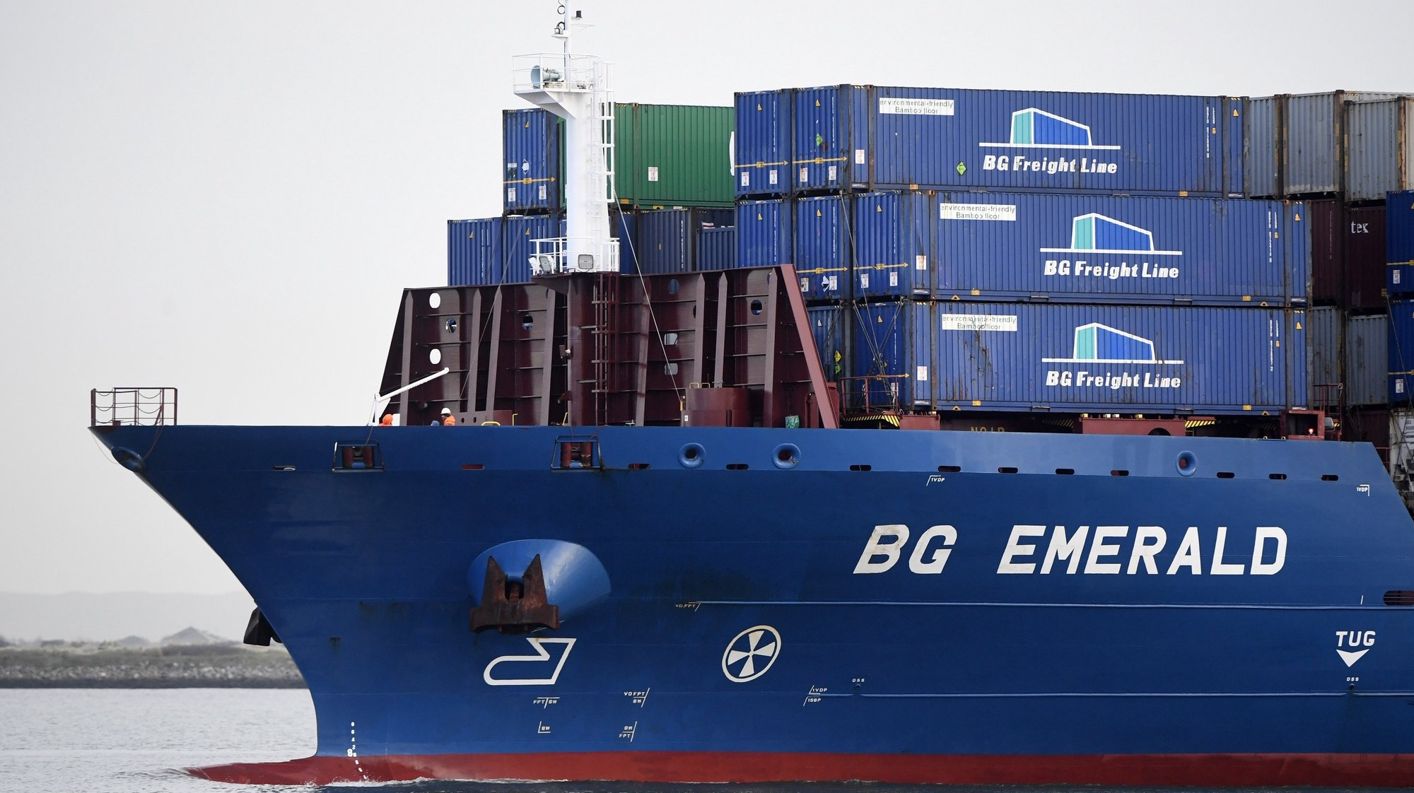 epa08878785 A container ship enters Dublin Port in Dublin, Ireland, 12 December 2020. Brexit negotiations continue in Brussles before the 13 December deadline before Britain leaves the EU on 01 January 2021.  EPA/AIDAN CRAWLEY