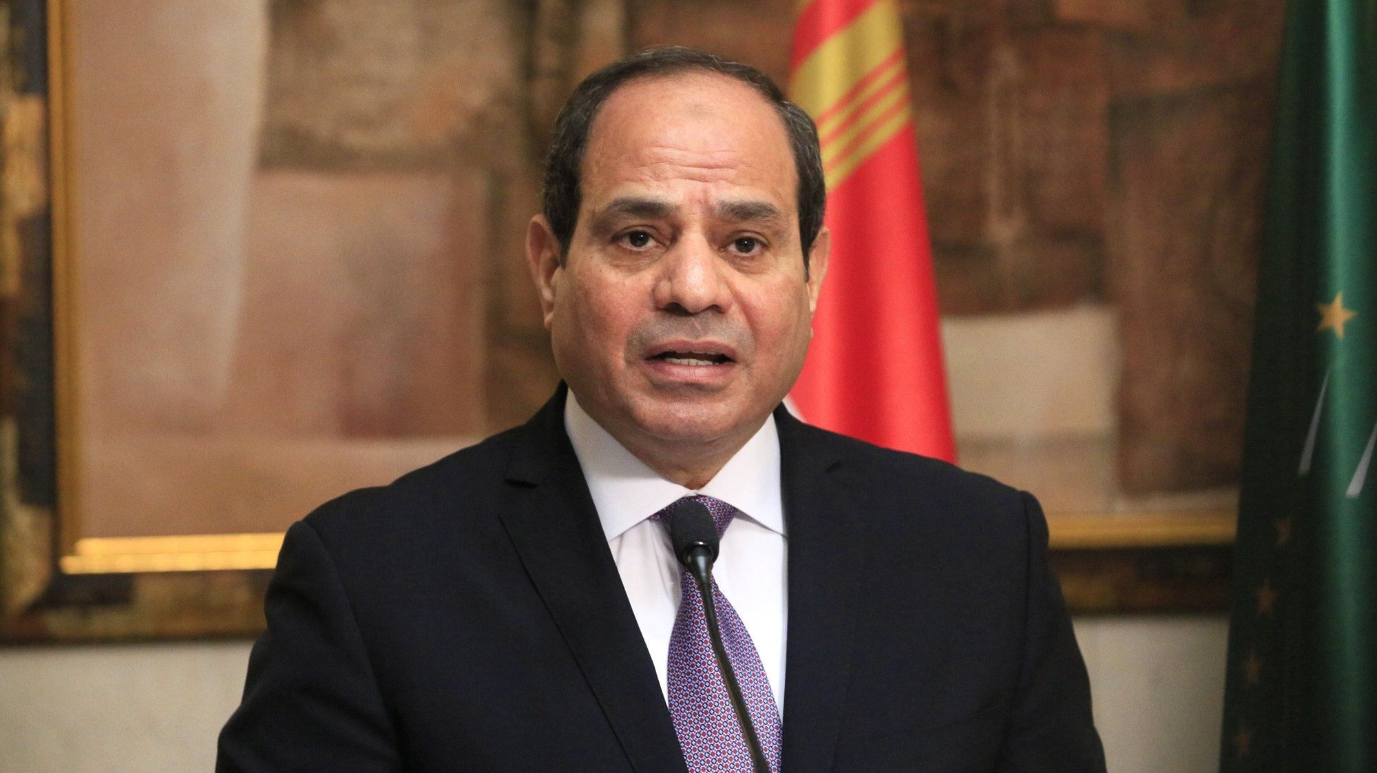 epa07498774 Egypt's President Abdel Fattah al-Sissi speaks at the presidential palace in Abidjan during a welcoming ceremony in Abijan, Ivory Coast, 11 April 2019. The President of the Arab Republic of Egypt Abdel Fattah Al-Sissi arrived Wednesday evening in Abidjan where he makes a visit of friendship and work of 48 hours. This visit of the Egyptian president in Ivory Coast is part of the part of a West African tour he began Sunday in Guinea. After the Ivorian stage, Abdel Fattah Al-Sissi is expected in Senegal.  EPA/LEGNAN KOULA