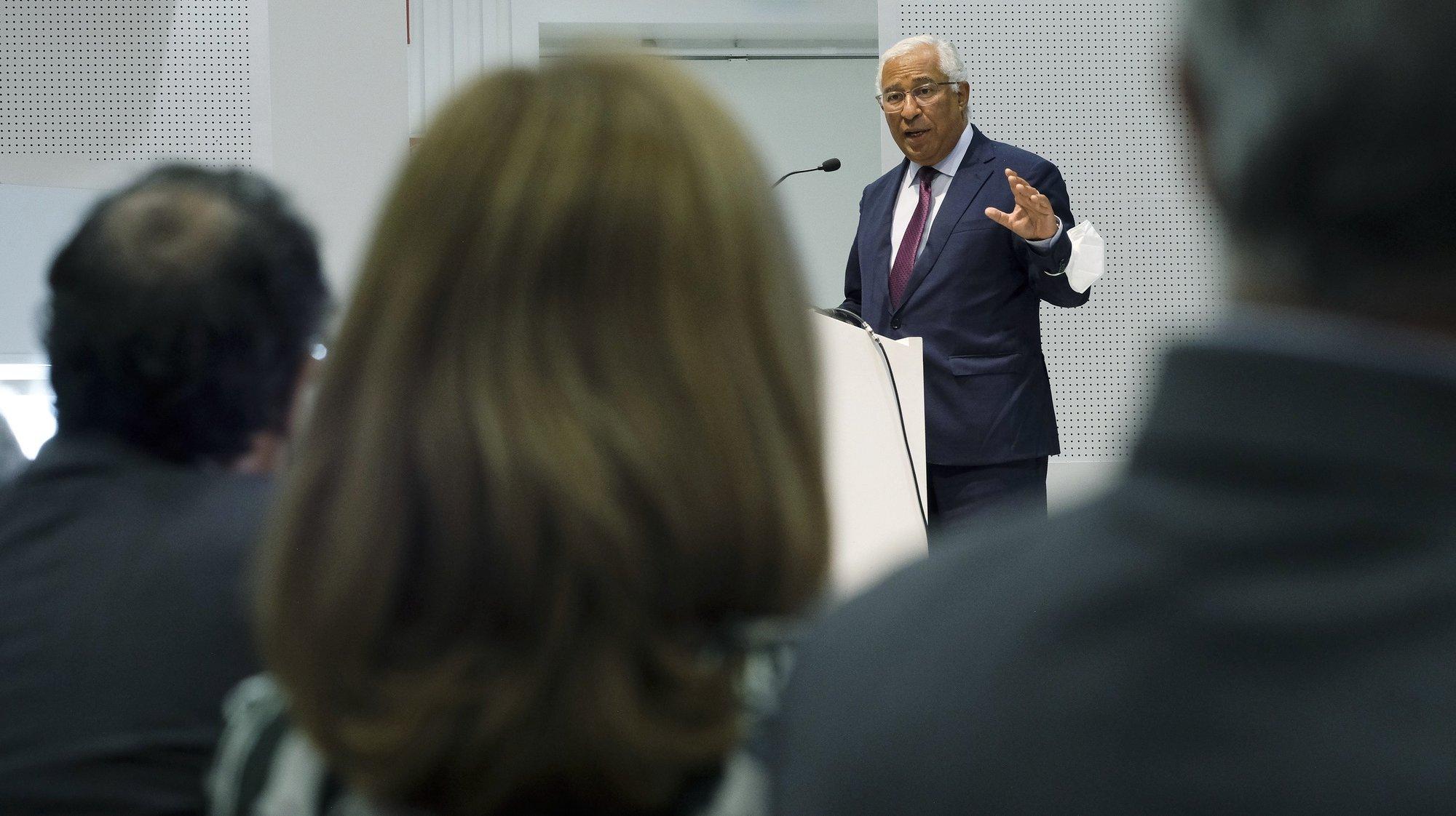 """O primeiro-ministro, António Costa discursa na sessão de lançamento """"Programas PRR - Agendas Mobilizadoras para a Inovação Empresarial"""", que decorreu na Porto Business School em Matosinhos. 23 de junho de 2021. FERNANDO VELUDO/LUSA"""