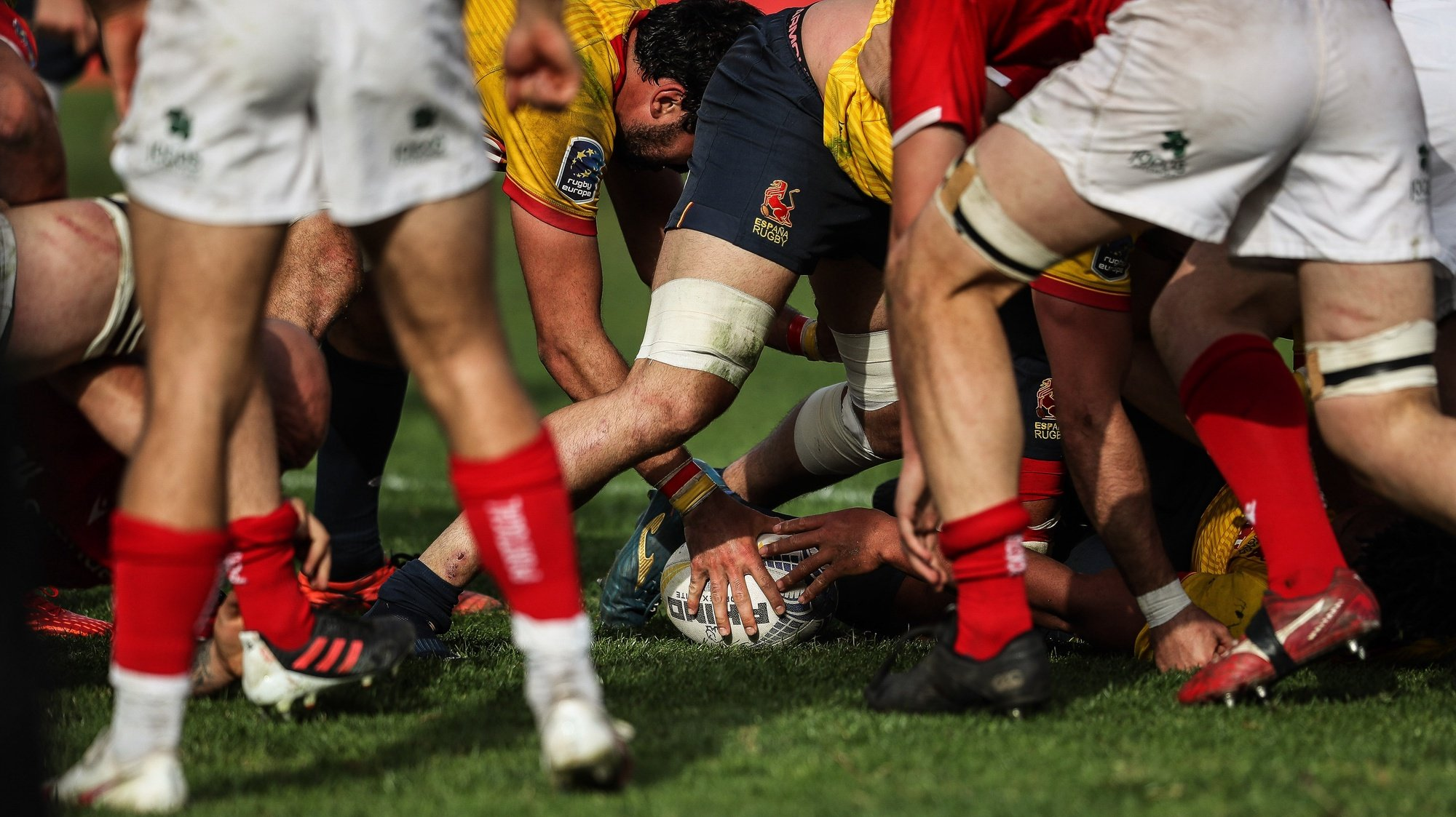 Portugal's players in action against Spain during a Rugby Europe Championship 2021 match in Oeiras, outskirts of Lisbon, Portugal, 27 March 2021. MARIO CRUZ/LUSA