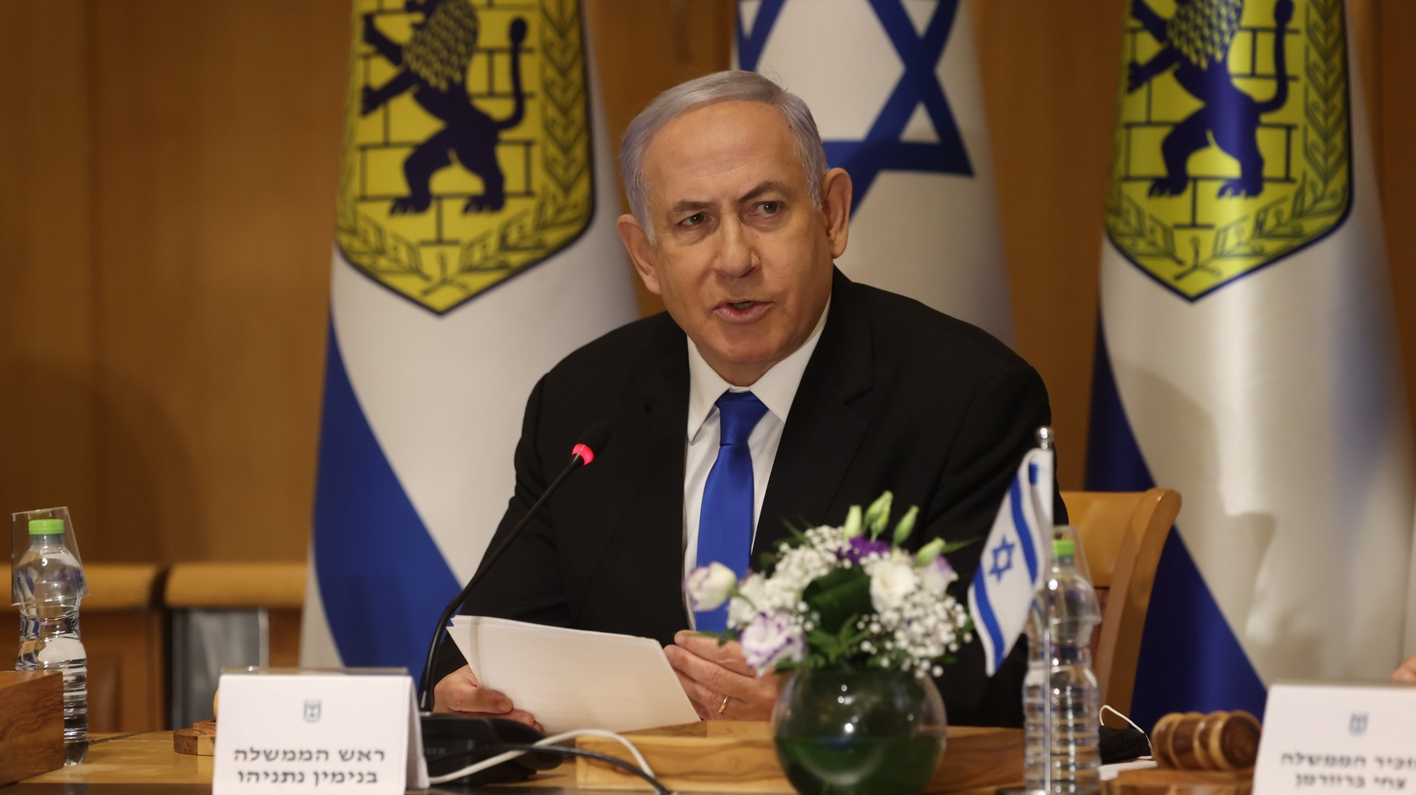 epa09187400 Israeli Prime Minister Benjamin Netanyahu  during a special cabinet meeting on the occasion of Jerusalem Day in Jerusalem, Israel, 09 May 2021. Jerusalem Day is an Israeli national holiday that celebrates the establishment of Israeli control over the Old City in the aftermath of the June 1967 Six-Day War.  EPA/AMIT SHABI/ POOL
