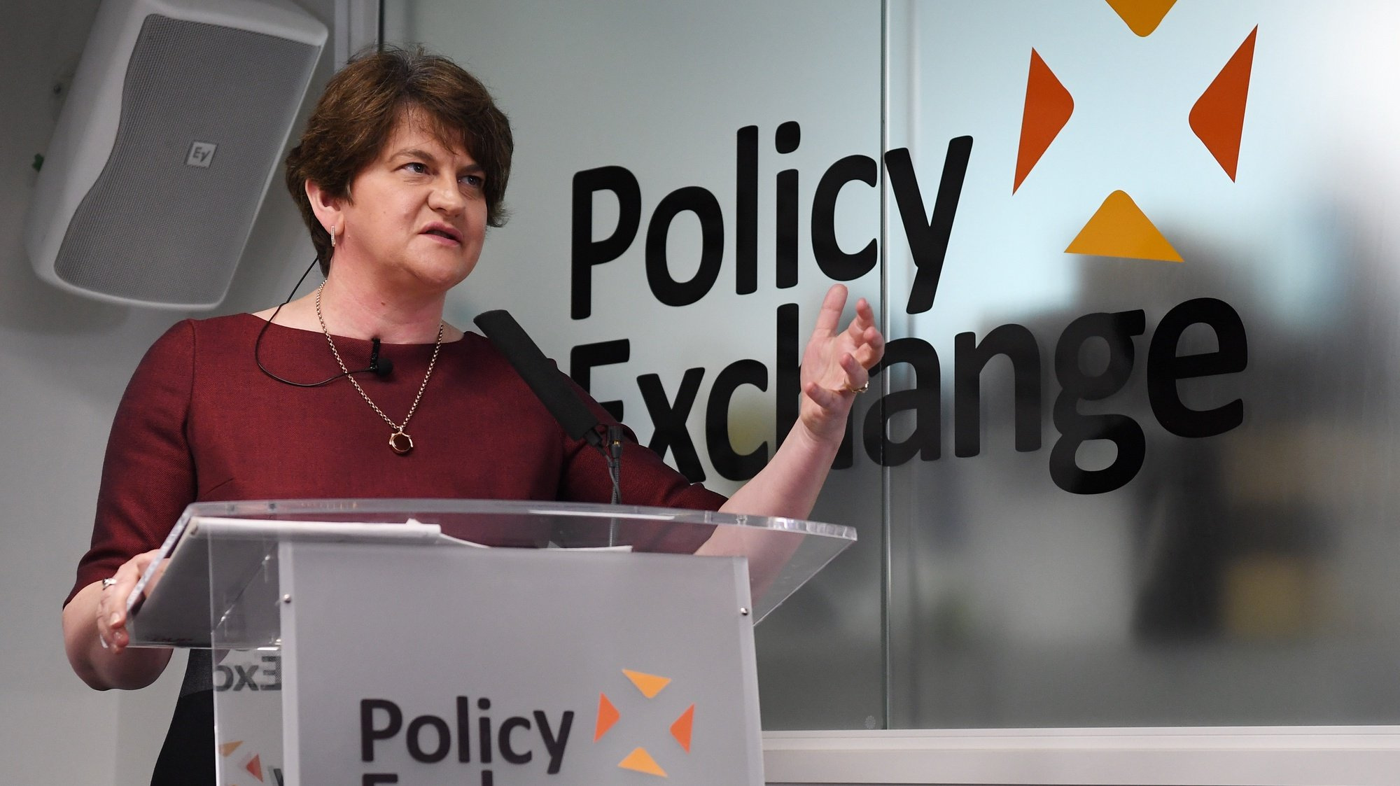 epa09165636 (FILE) - Northern Ireland Democratic Unionist Party (DUP) leader Arlene Foster speaks at an event on the Brexit Irish backstop, at Policy Exchange in Westminster London, Britain, 26 June 2019 (reissued 28 April 2021). Arlene Foster on 28 April 2021 in a statement announced she will be stepping down as Democratic Unionist Party (DUP) party leader on 20 May and as First Minister of Northern Ireland by the end of June.  EPA/FACUNDO ARRIZABALAGA *** Local Caption *** 55299694