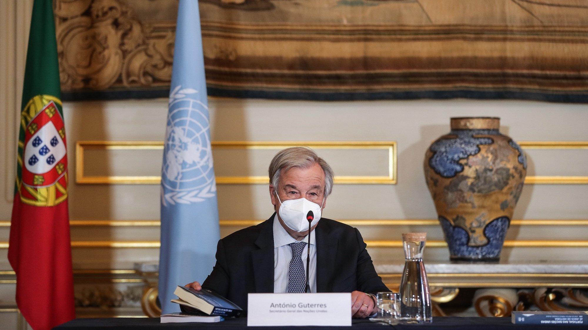 """UN Secretary-General António Guterres participates in the launch of the books """"Portugal in the UN: 65 Years of History"""" and """"Multilateral Portugal"""", at the Ministry of Foreign Affairs, Lisbon, Portugal, July 3, 2021. MARIO CRUZ/LUSA"""