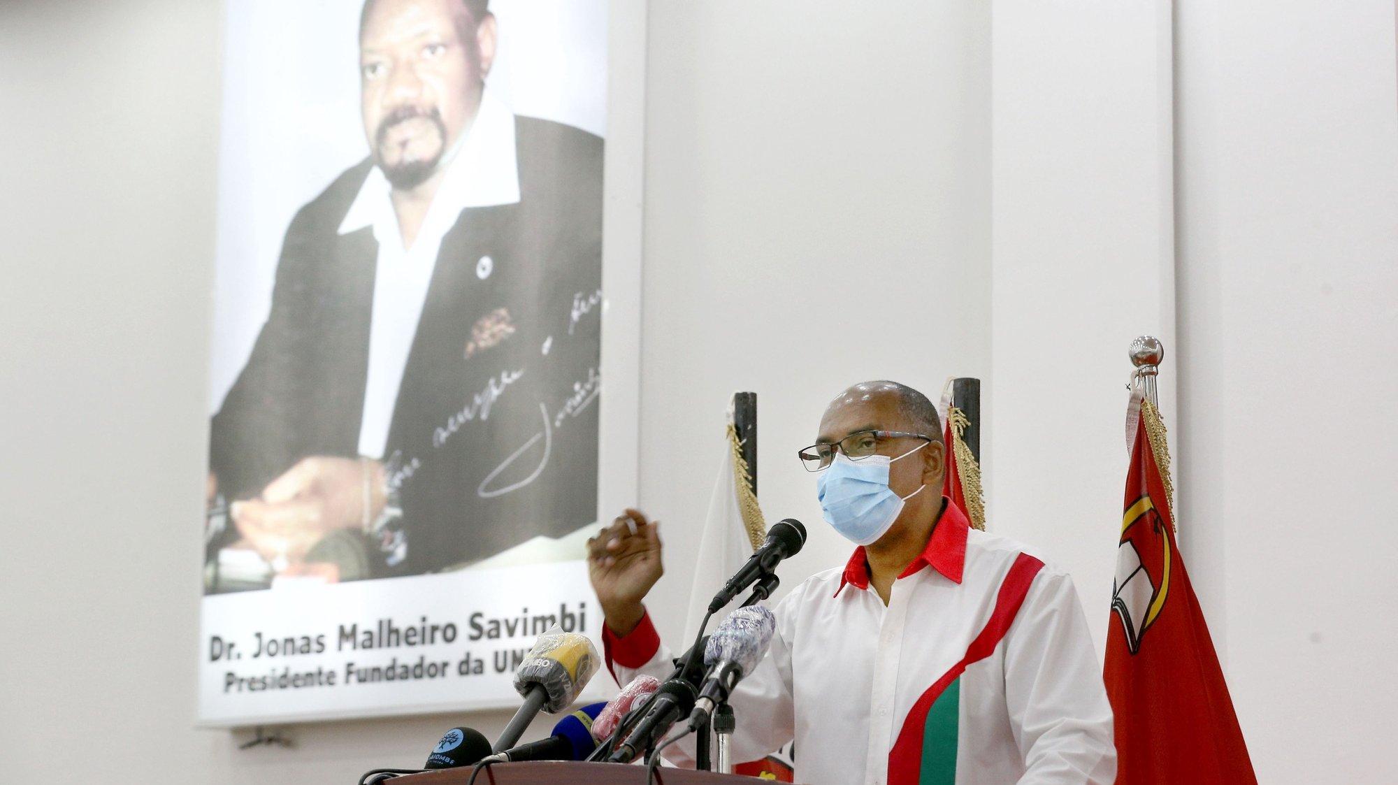 O presidente da UNITA, Adalberto da  Costa Junior, discursa durante a abertura do ano politico do partido, Luanda, Angola, 15 de janeiro de 2021. AMPE ROGÉRIO/LUSA