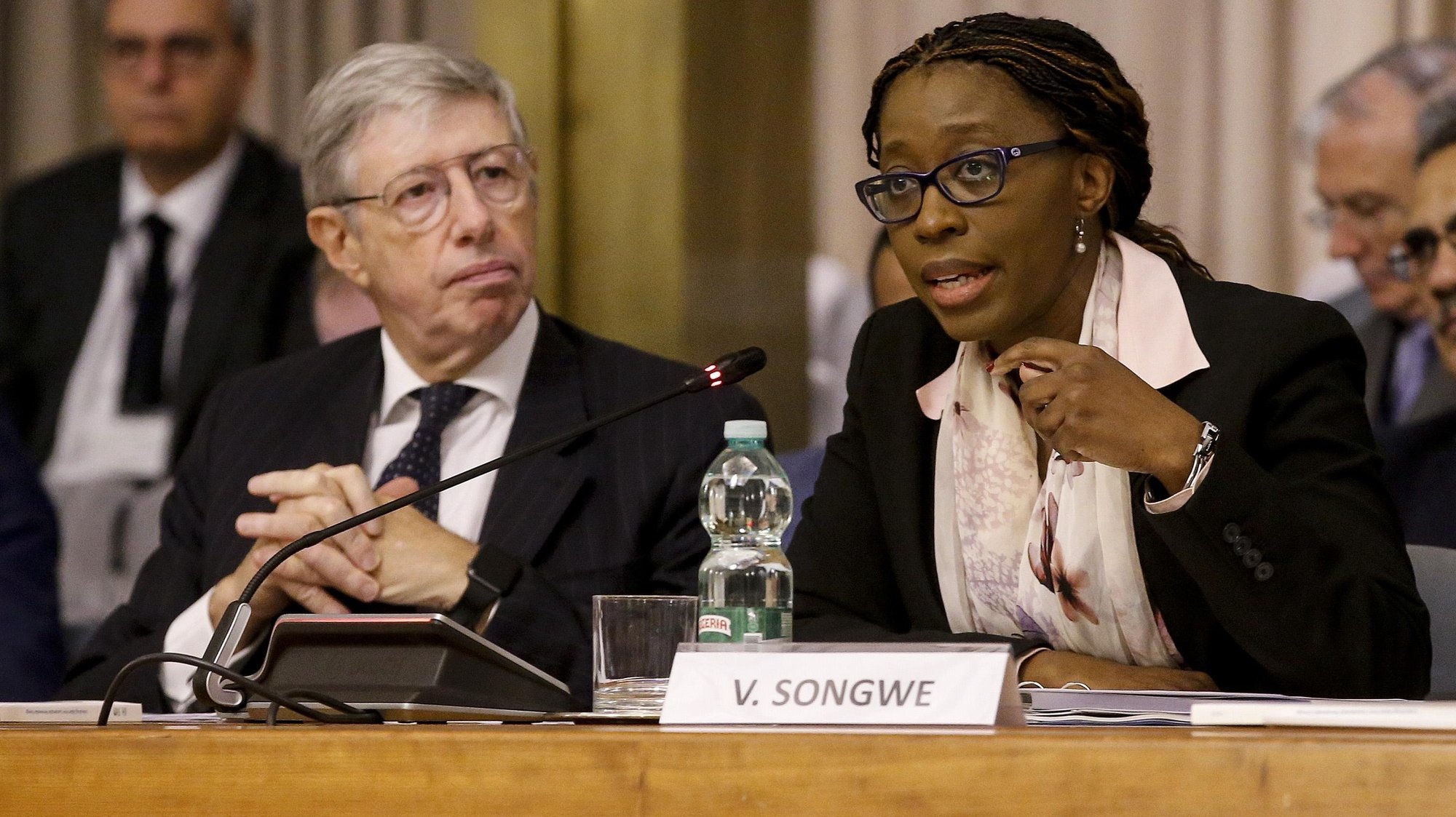 epa07115972 Massimo Gaiani, Director General for Global Issues of Italys Minister for Foreign Affairs and International Cooperation (L) and Vera Songwe, Executive Secretary of the United Nations Economic Commission for Africa, during the conference 'Africa's renewable energy transition: What does it take?'' at Farnesina palace in Rome, Italy, 24 October 2018.  EPA/FABIO FRUSTACI