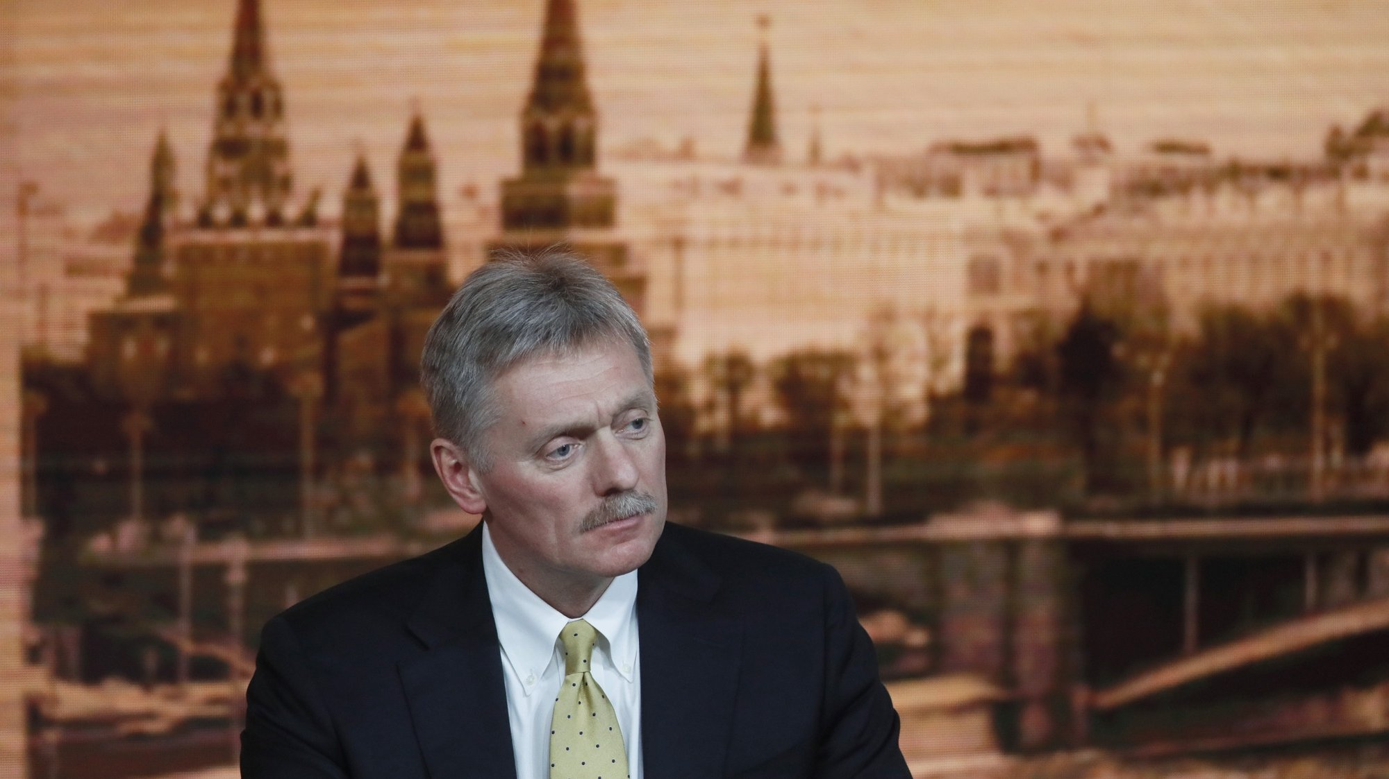 epa08416803 (FILE)  Kremlin spokesman Dmitry Peskov attends Russian President Vladimir Putin's annual life-broadcasted news conference with Russian and foreign media at the World Trade Center in Moscow, Russia, 19 December 2019 (reissued 12 May 2020). According to reports on 12 May, Kremlin spokesman Dmitry Peskov was hospitalised after testing positive for coronavirus COVID-19.  EPA/YURI KOCHETKOV *** Local Caption *** 55719978