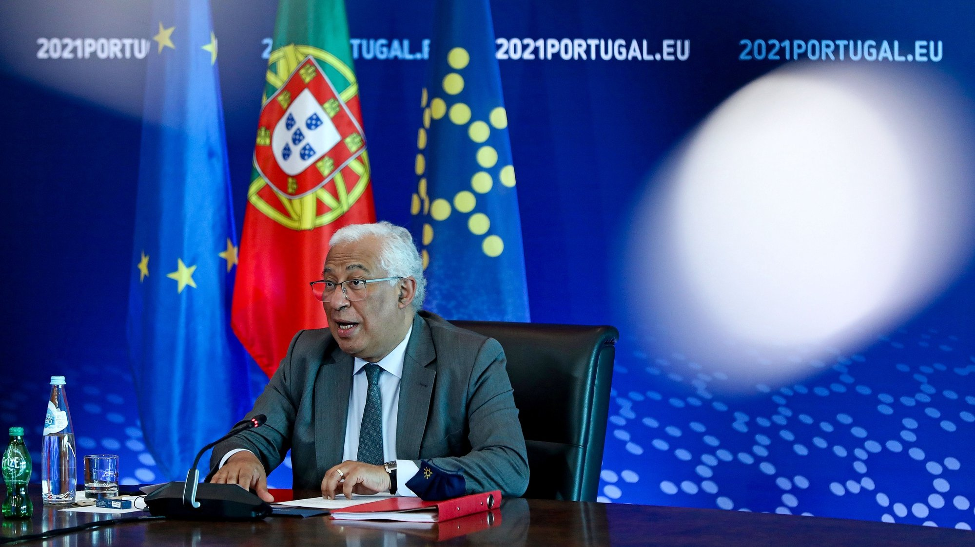 Portuguese Prime Minister Antonio Costa arrives to attend a video conference of the members of the European Council to discuss the current situation of the COVID-19 pandemic, preparedness for health threats, security and defence, and relations with the Southern Neighbourhood, in Lisbon, Portugal, 25 February 2021. ANTONIO PEDRO SANTOS/LUSA