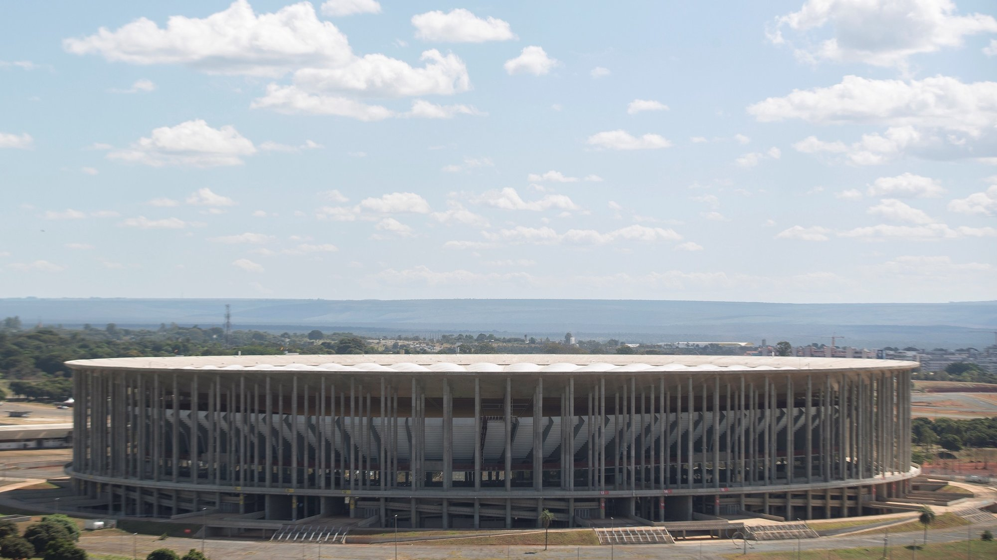 epa09243595 Exterior view of the Mane Garrincha stadium, one of the four venues for the Copa America 2021, in Brasilia, Brazil, 02 June 2021. Conmebol indicated that the cities of Brasilia, Rio de Janeiro, Cuiaba (Matto Grosso) and Goiania (Goias) will host the Copa America, after Argentina and Colombia gave up being the tournament venues, as was originally planned, due to the coronavirus pandemic.  EPA/Joedson Alves