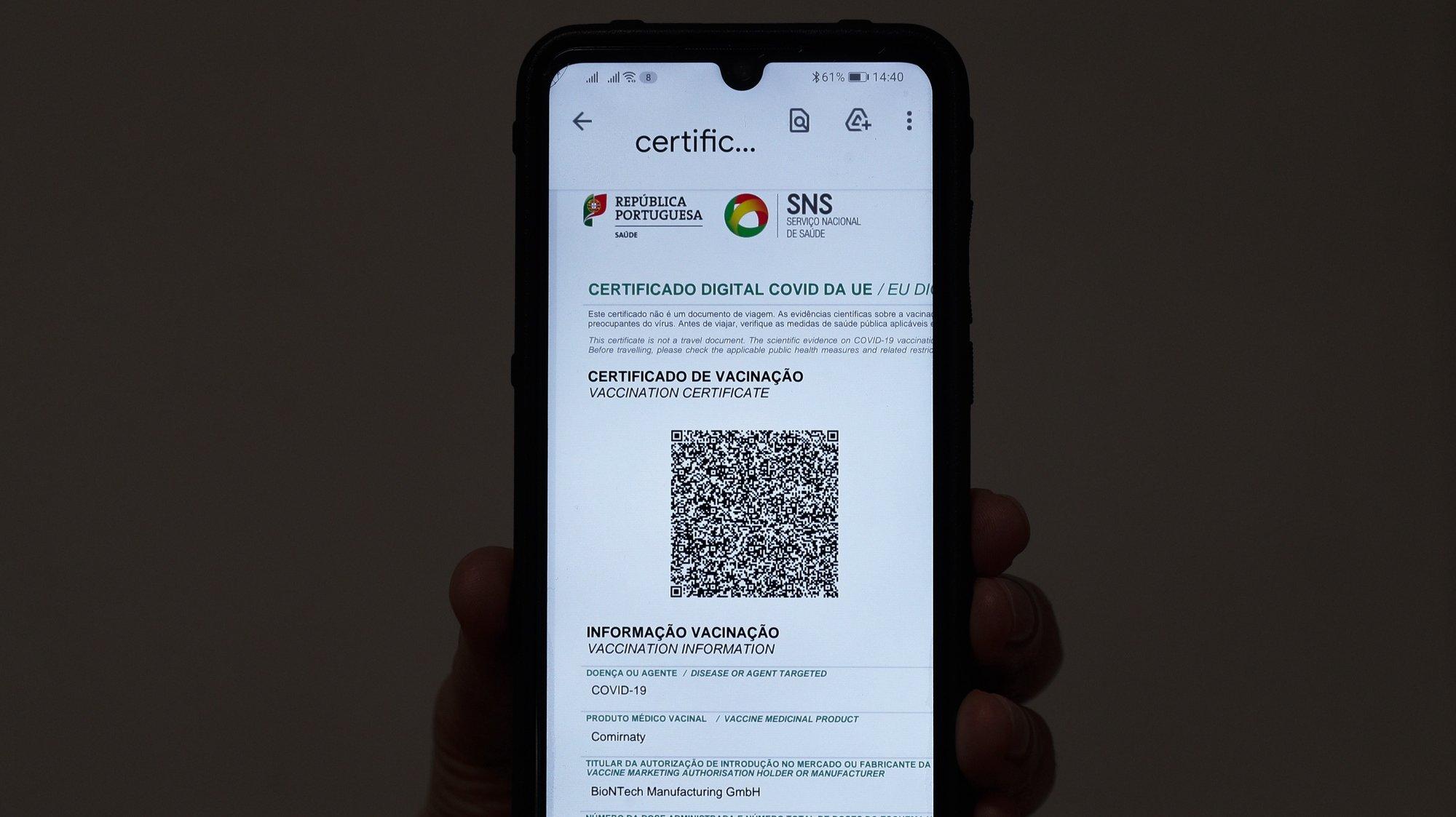 Certificado digital de vacinação, Lisboa, 18 de junho de 2021. ANTÓNIO COTRIM/LUSA